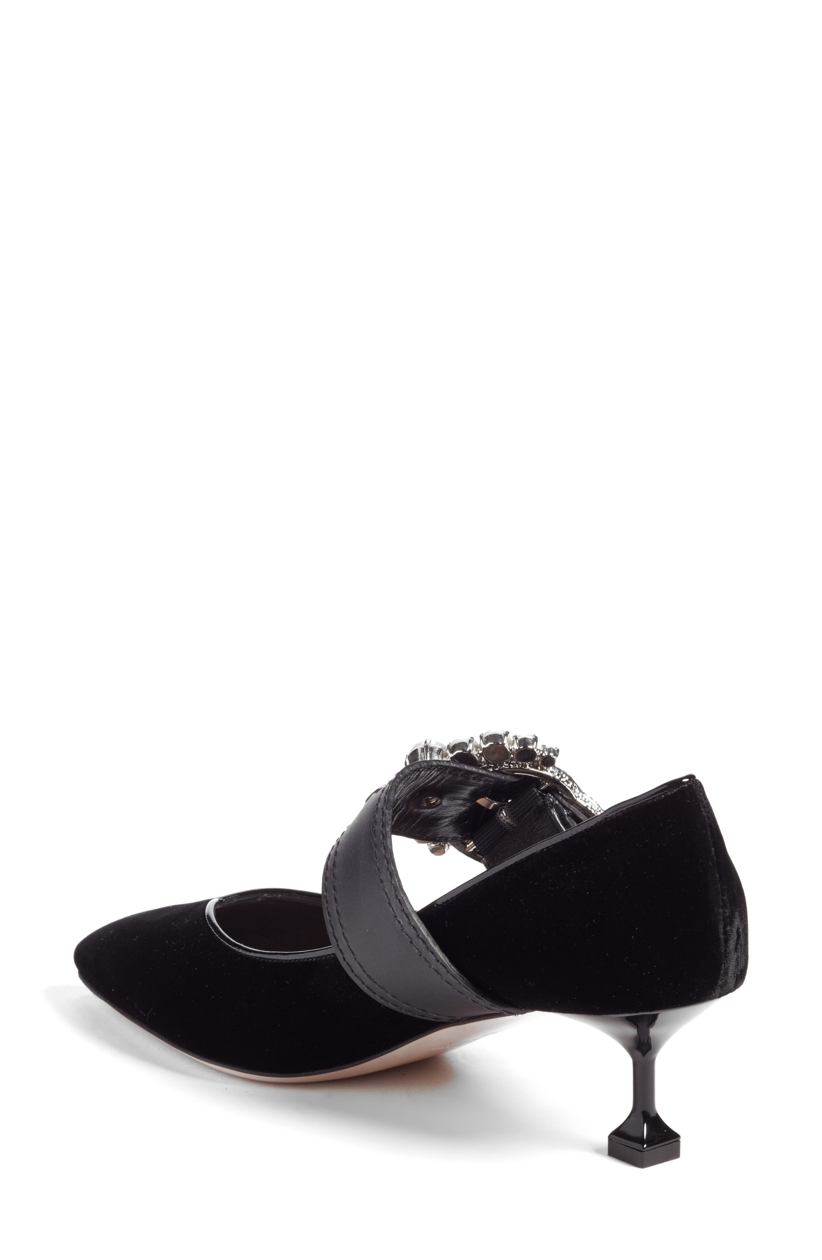 Embellished Buckle Pointy Toe Pump,                             Alternate thumbnail 2, color,                             001