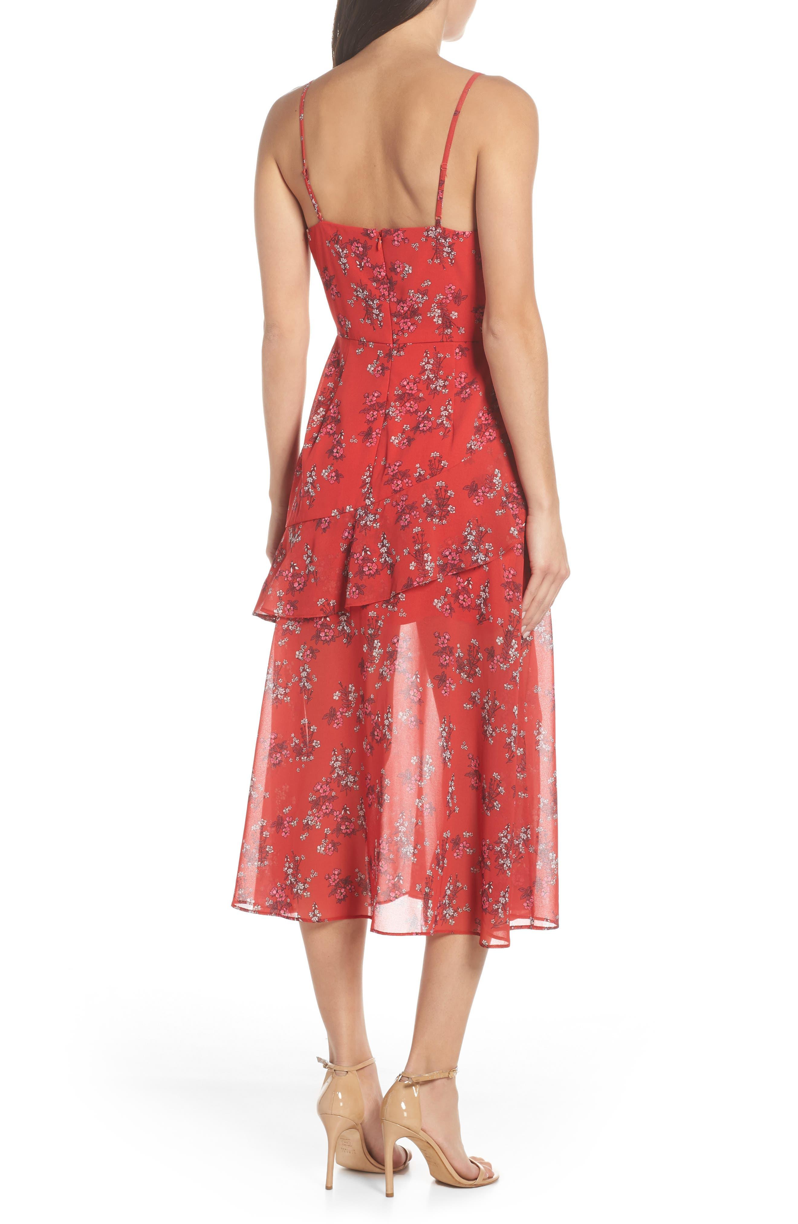 KEEPSAKE THE LABEL,                             Heart & Soul Ruffle Detail Tea Length Dress,                             Alternate thumbnail 2, color,                             SMALL RED FLORAL