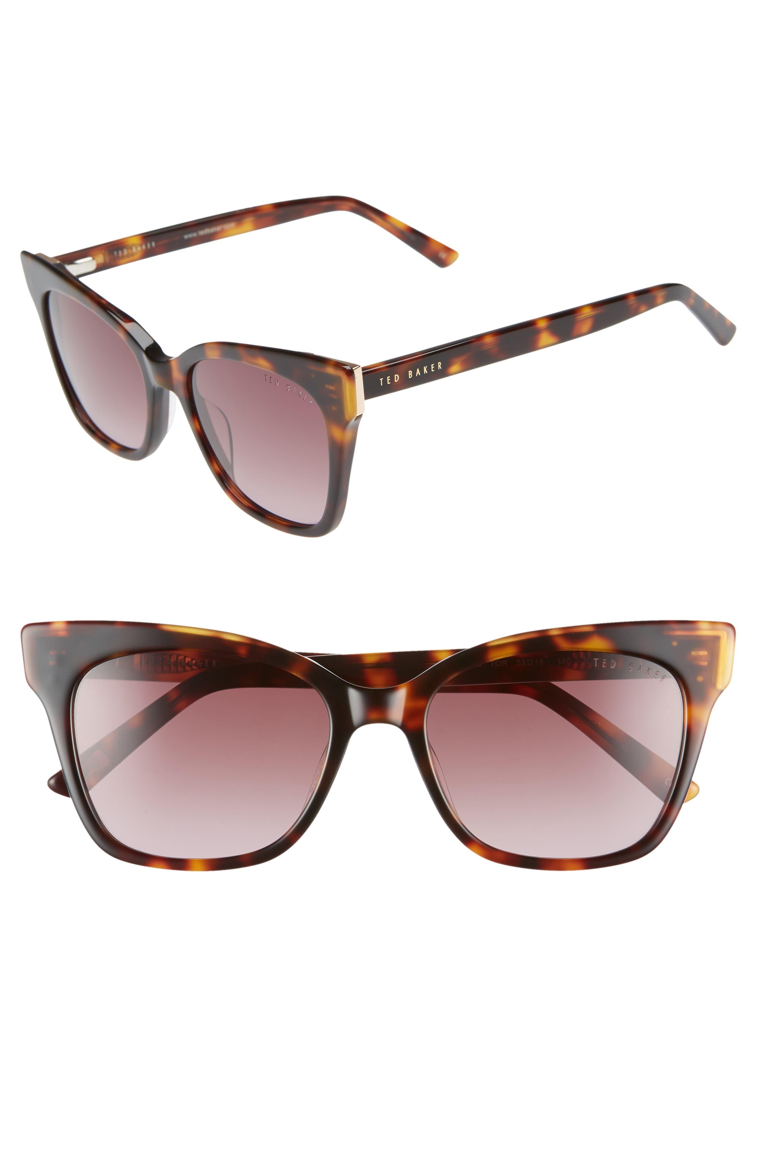 53mm Square Cat Eye Sunglasses,                             Main thumbnail 1, color,                             TORTOISE