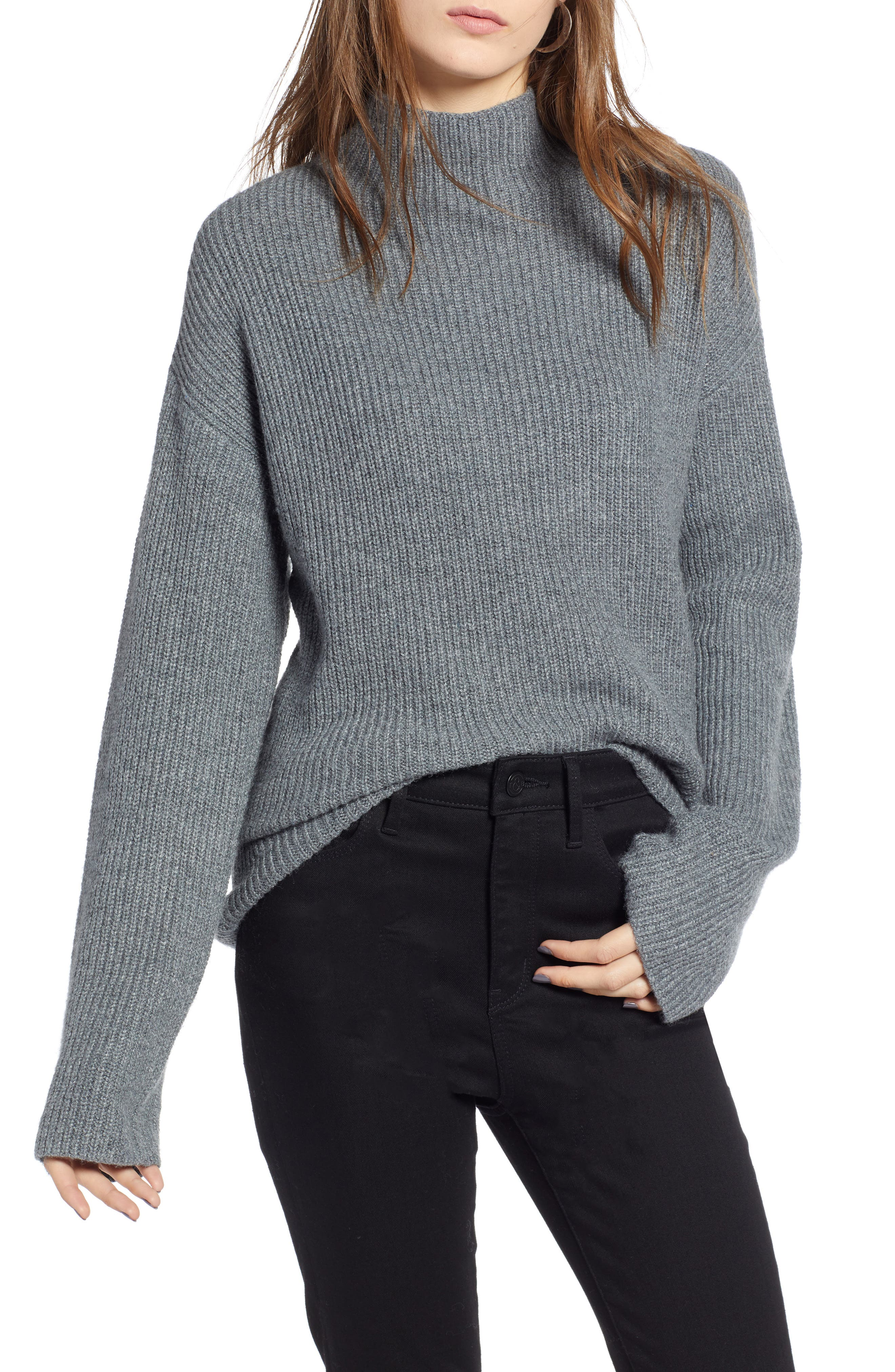 Ribbed Funnel Neck Sweater,                             Main thumbnail 1, color,                             030