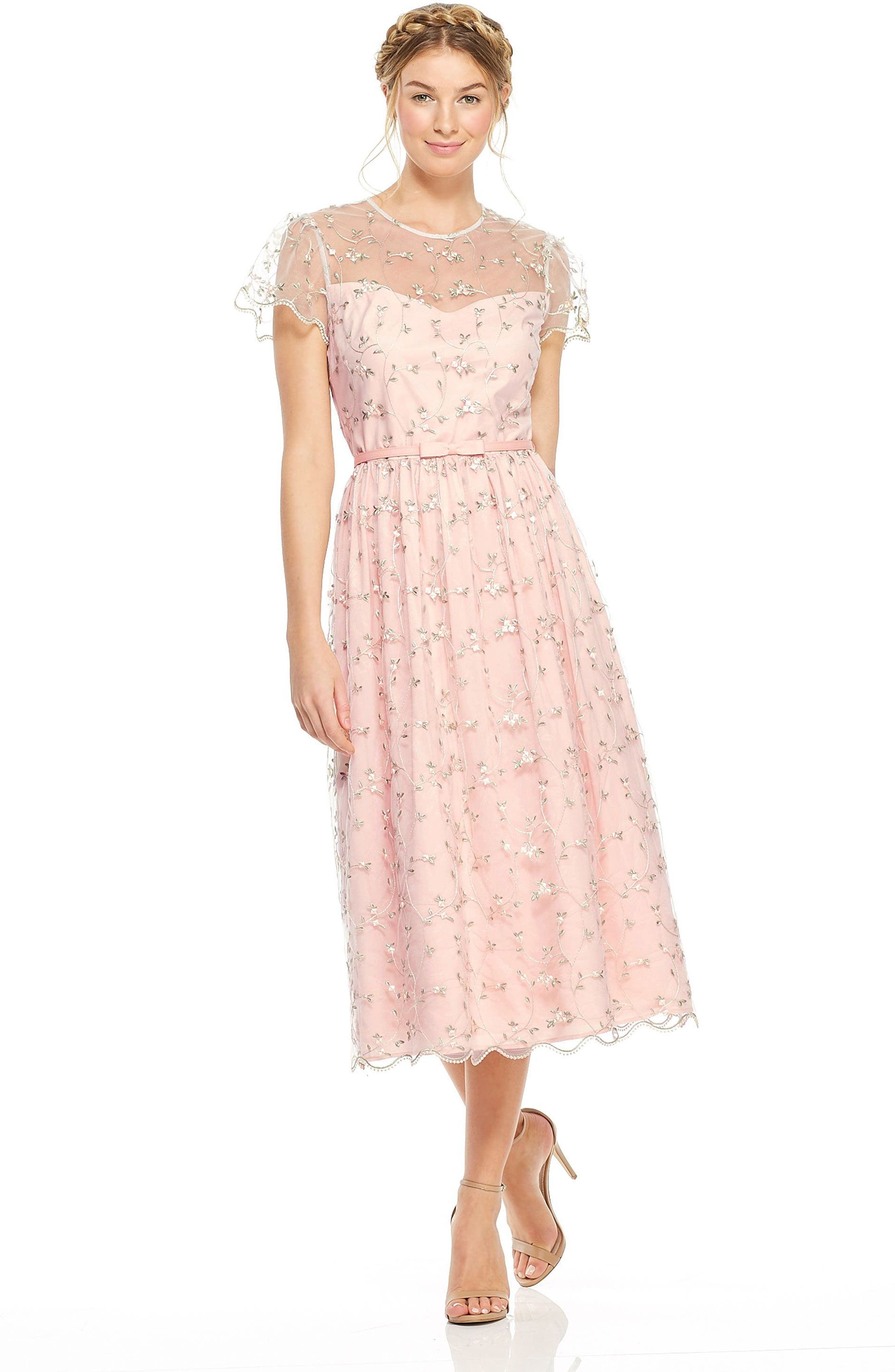 Penelope Baby Bud Embroidered Fit & Flare Midi Dress,                             Alternate thumbnail 9, color,                             650