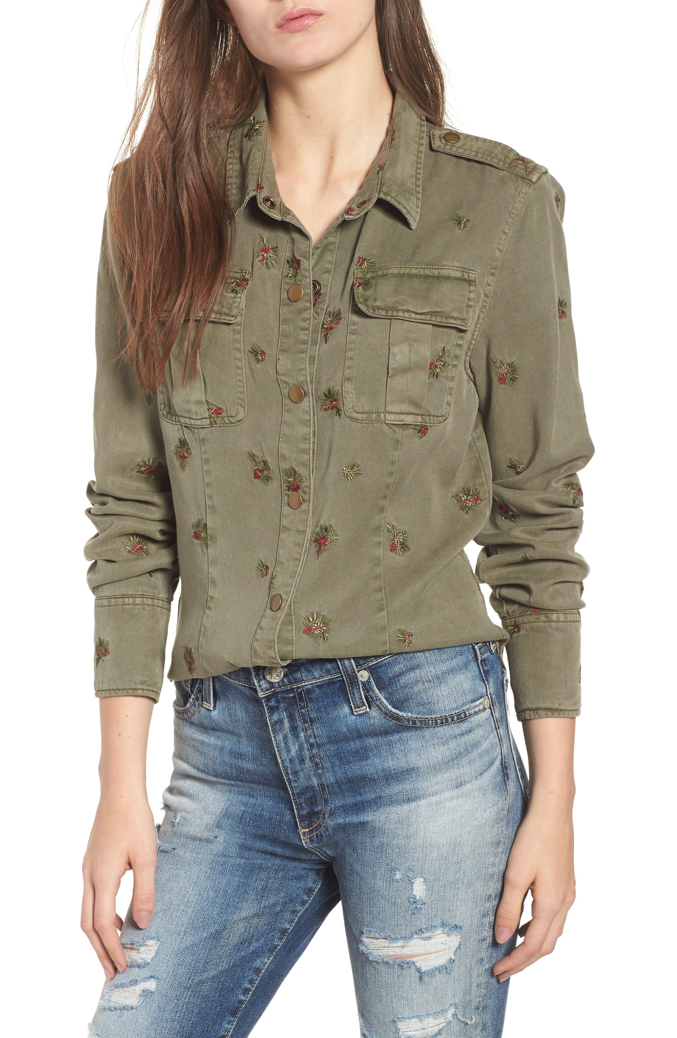 Back Pleated Shirt,                             Main thumbnail 1, color,                             FREEDOM GREEN