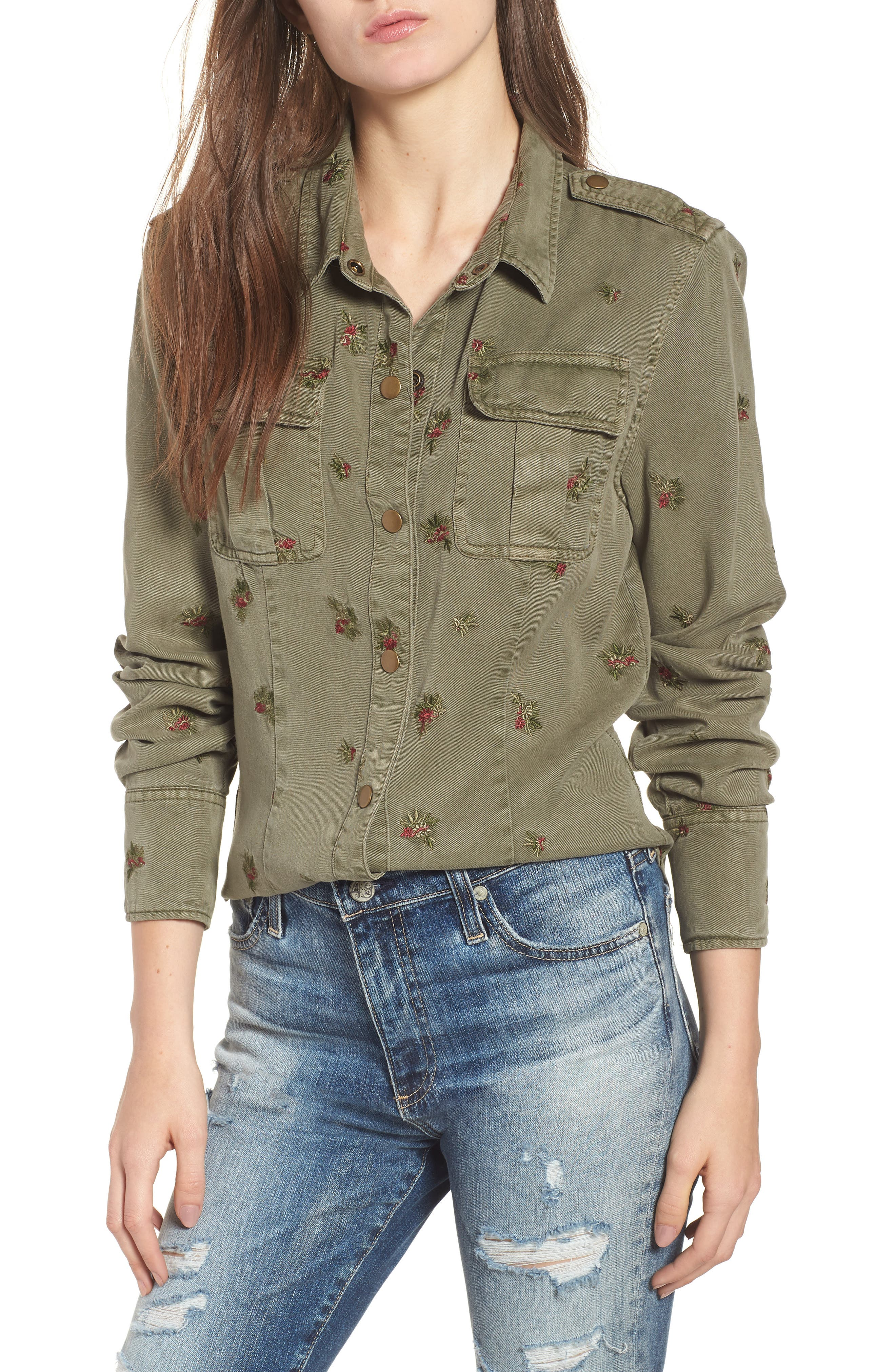 Back Pleated Shirt,                         Main,                         color, FREEDOM GREEN