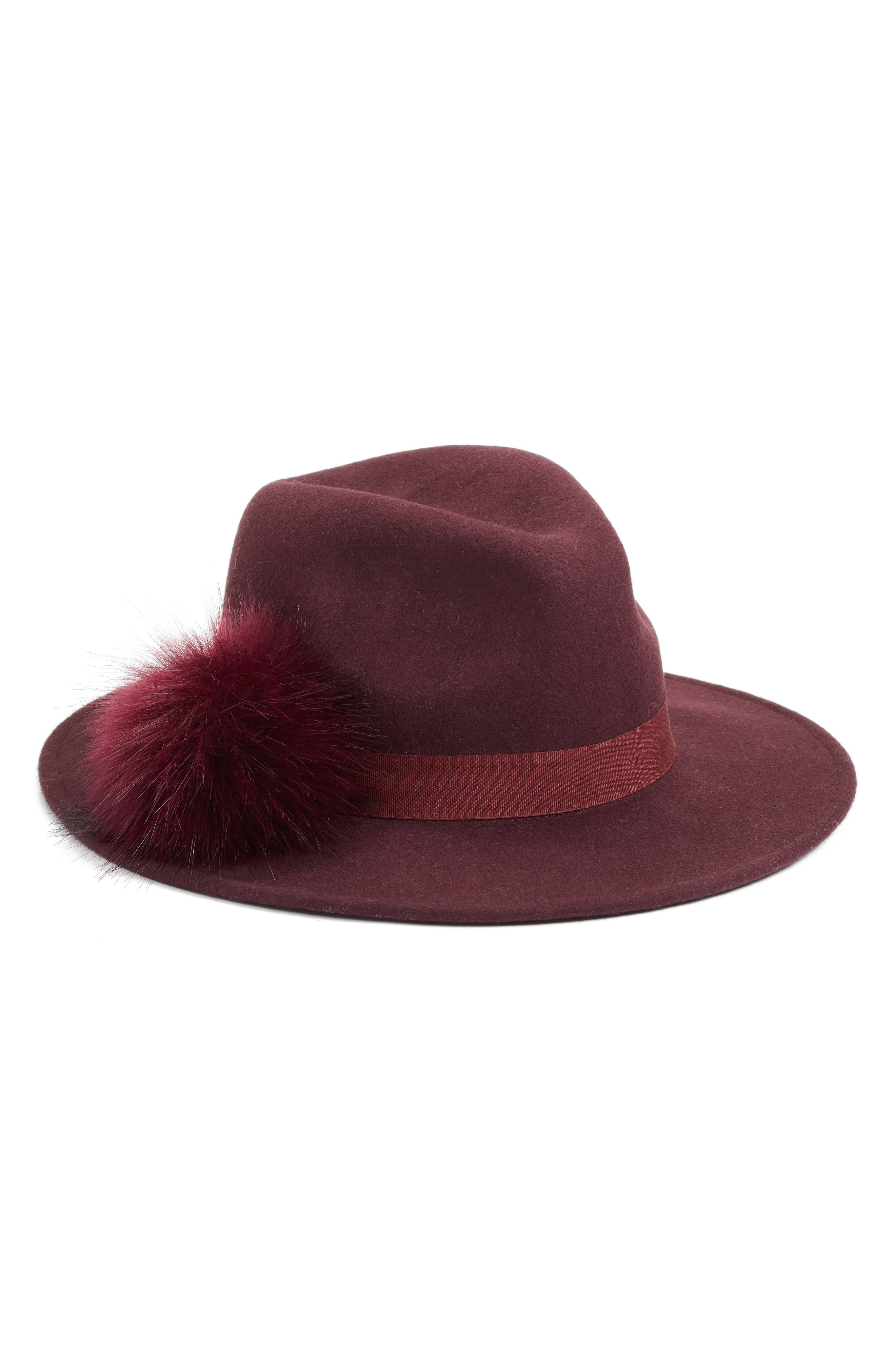 Faux Fur Pompom Fedora,                             Main thumbnail 1, color,                             BURGUNDY