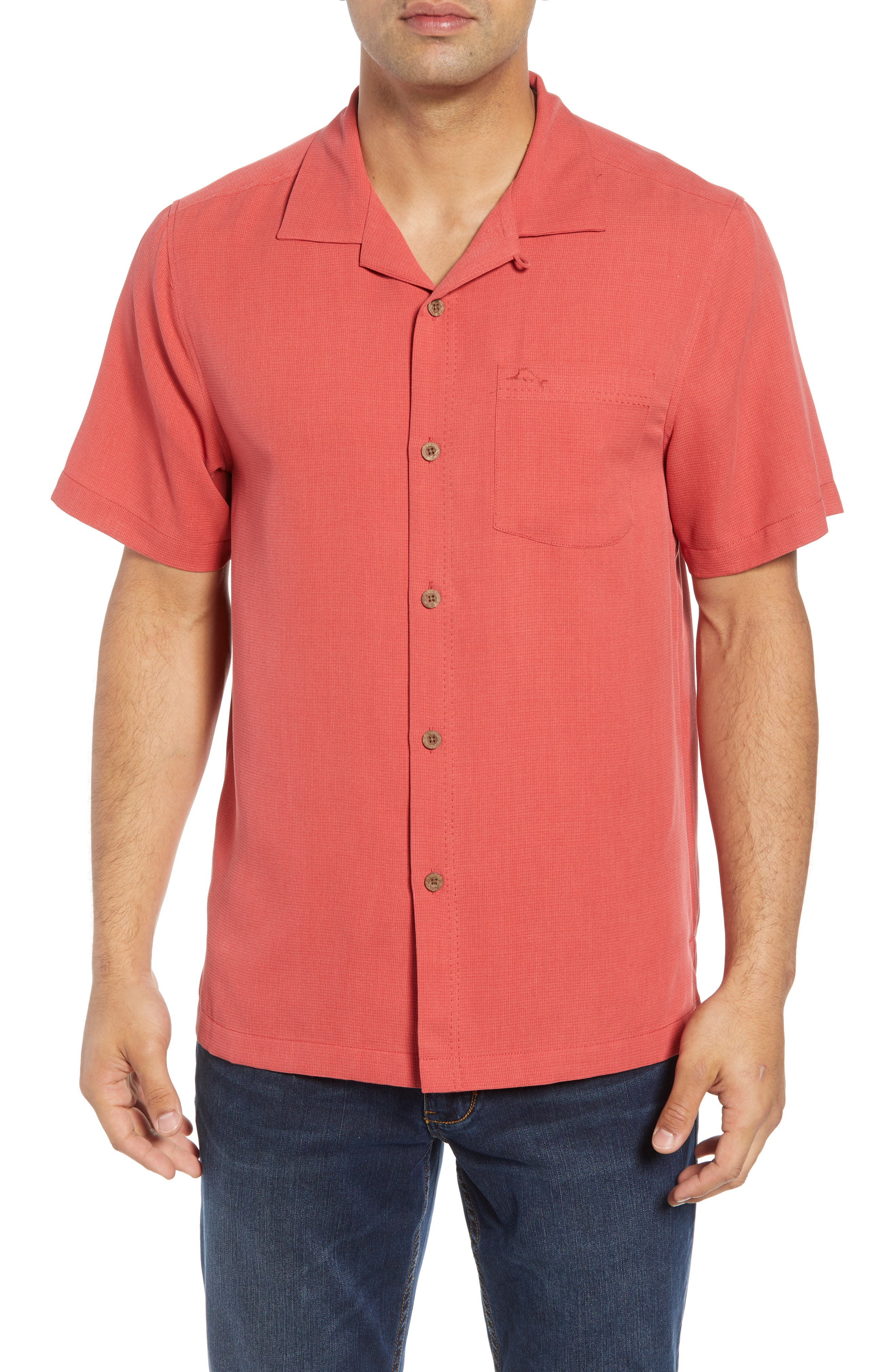 Royal Bermuda Silk Blend Camp Shirt,                         Main,                         color, WILD GERANIUM