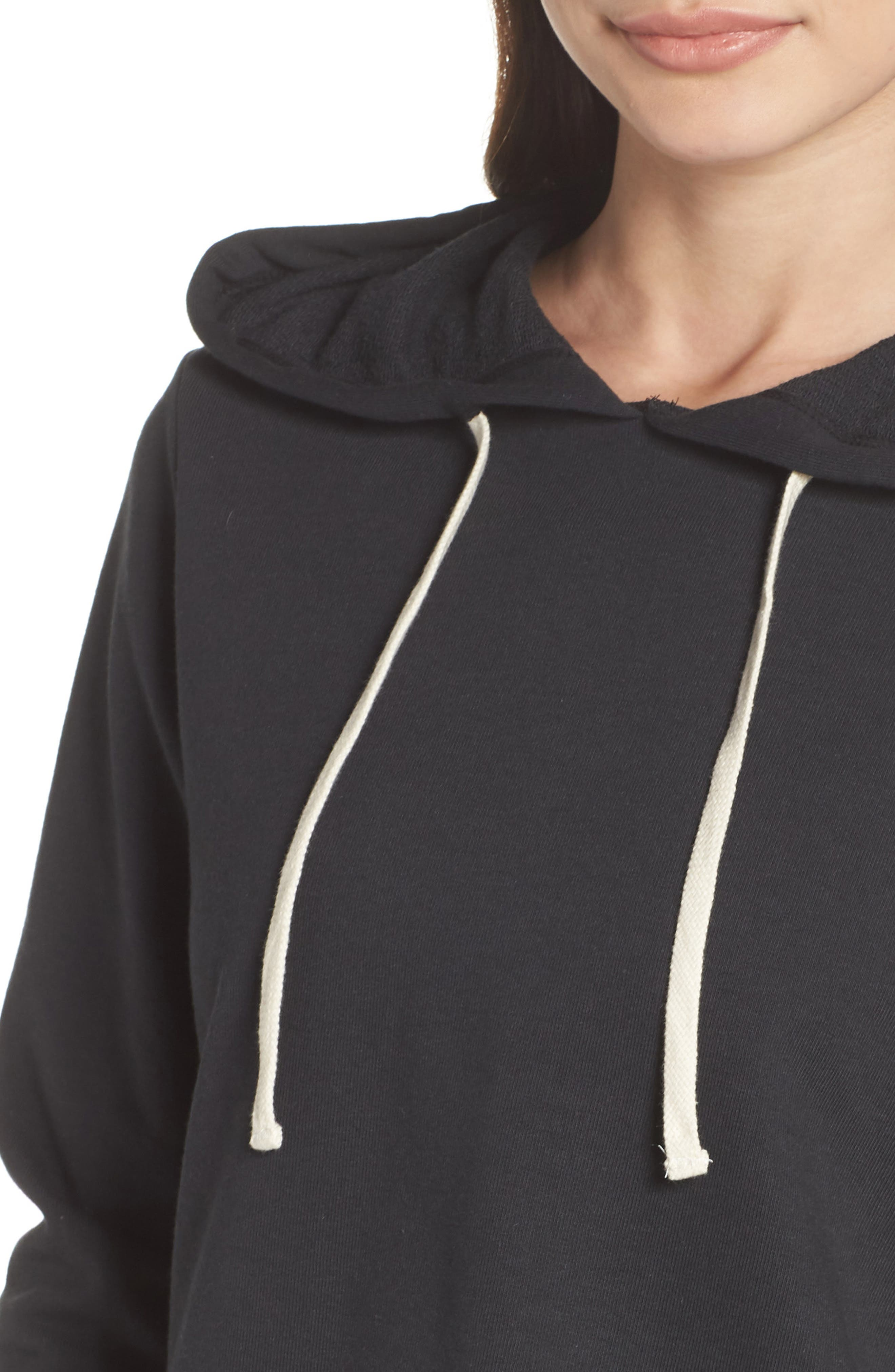 Cropped Terry Hoodie,                             Alternate thumbnail 4, color,                             001