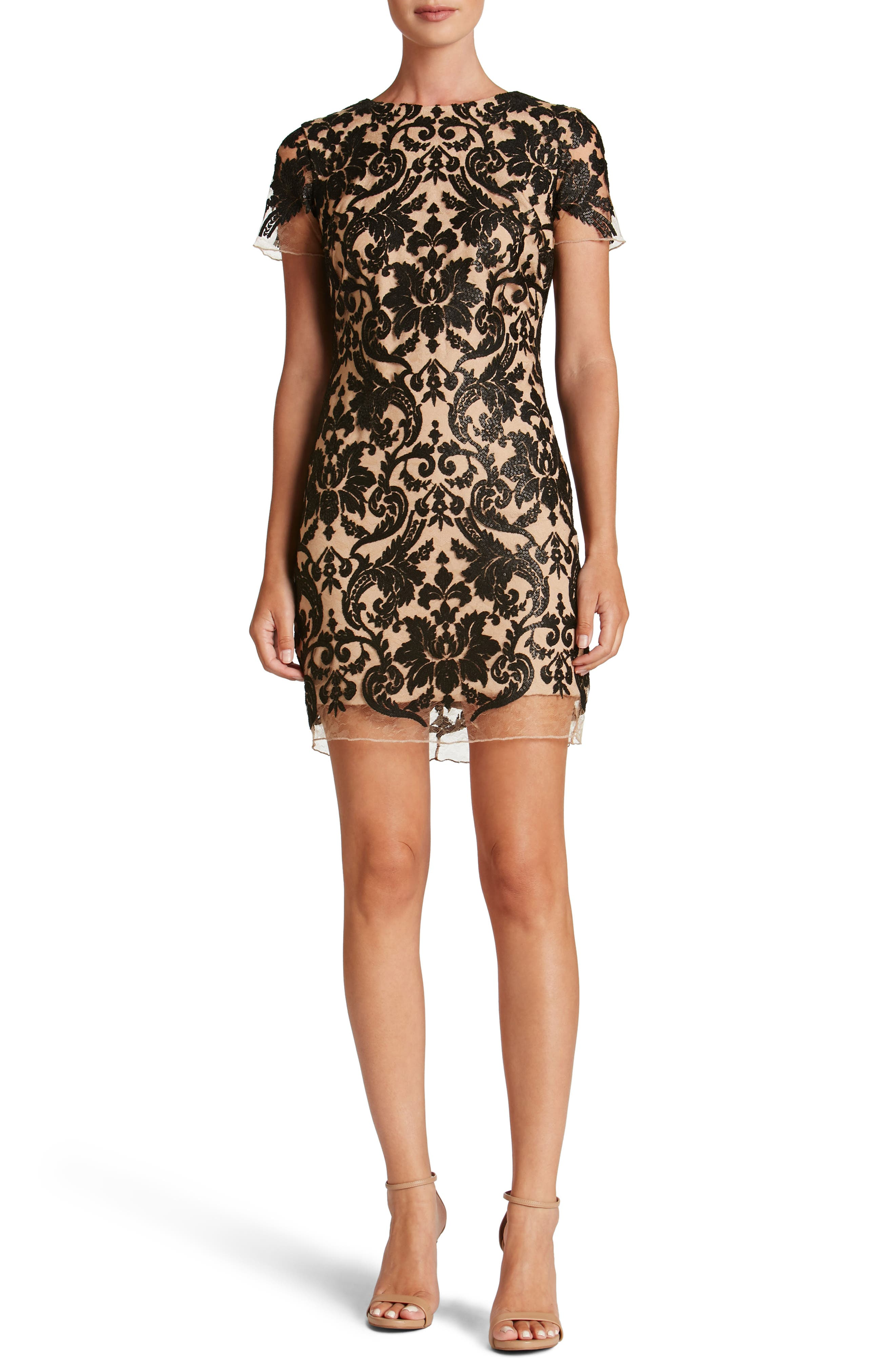 Megan Sequin Lace Sheath Dress,                             Main thumbnail 1, color,                             014