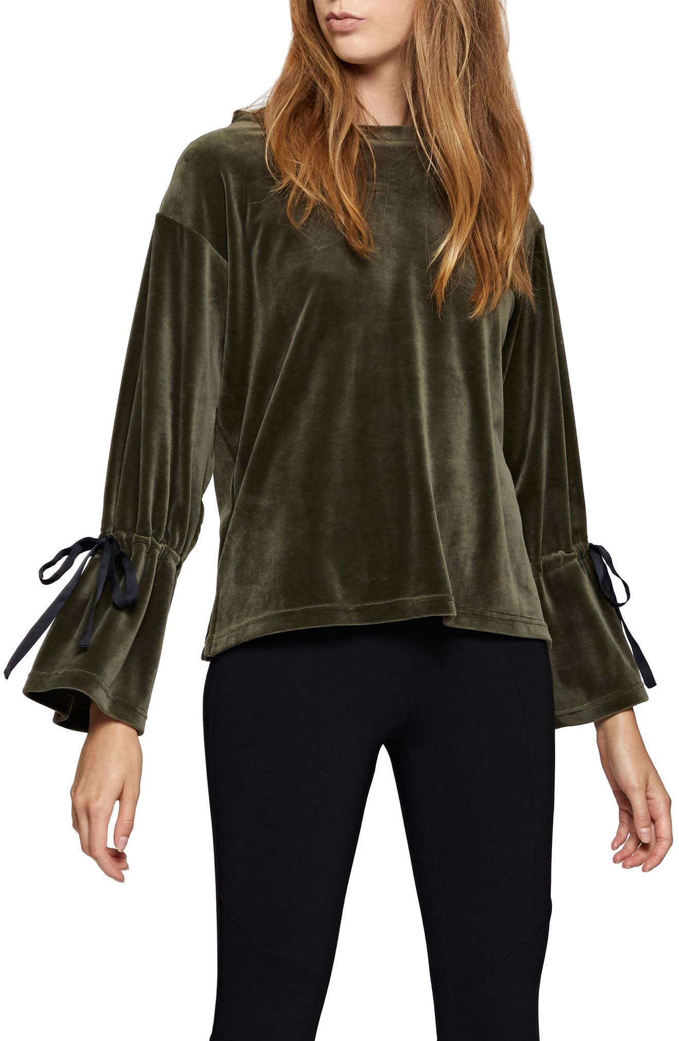 Tierney Tie Sleeve Velour Top,                             Alternate thumbnail 5, color,