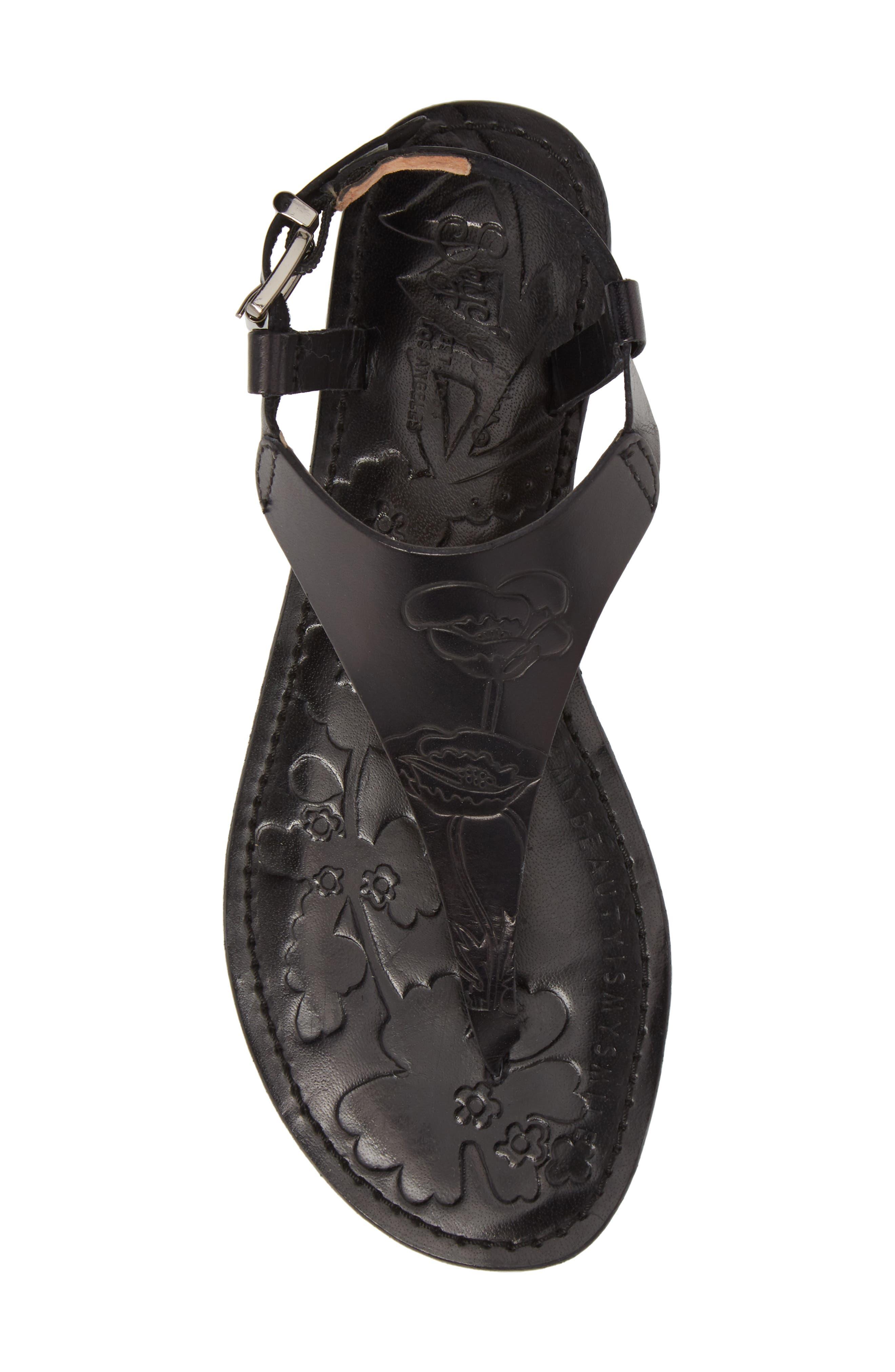 Laxmi Embossed Sandal,                             Alternate thumbnail 5, color,                             BLACK LEATHER