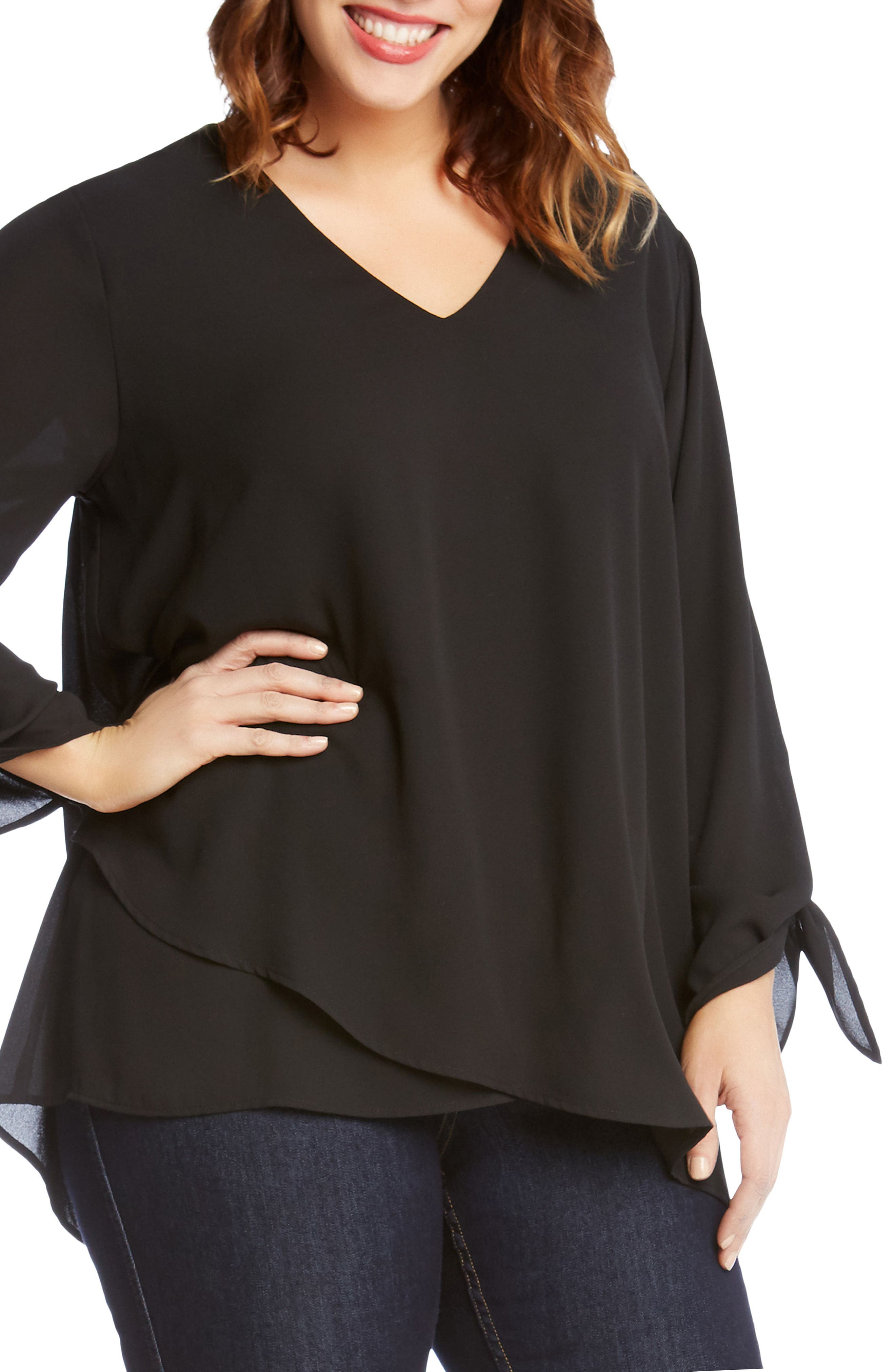 Crossover Tie Sleeve Top,                             Alternate thumbnail 3, color,                             001