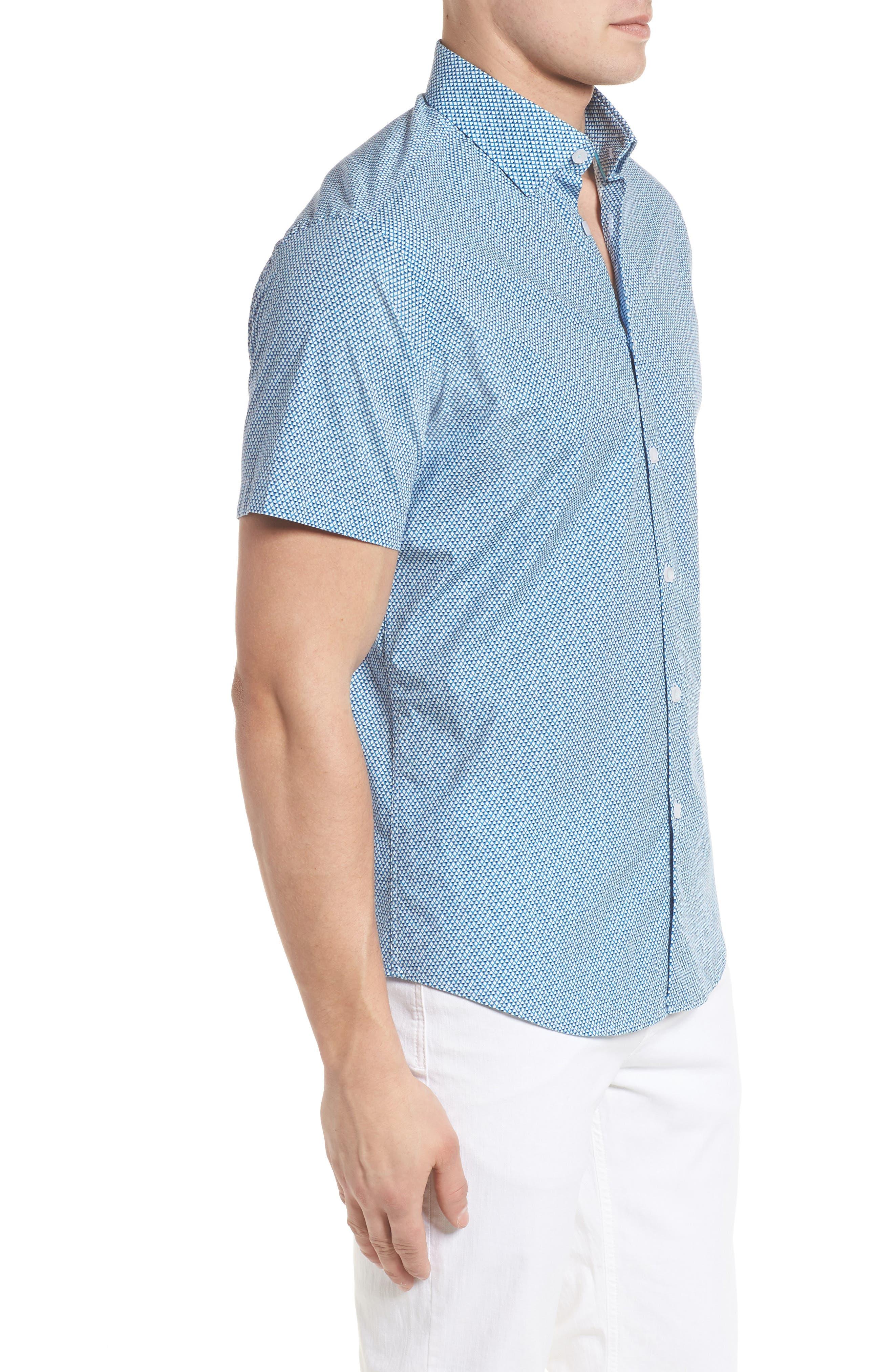 Slim Fit Diamond Print Sport Shirt,                             Alternate thumbnail 3, color,                             435