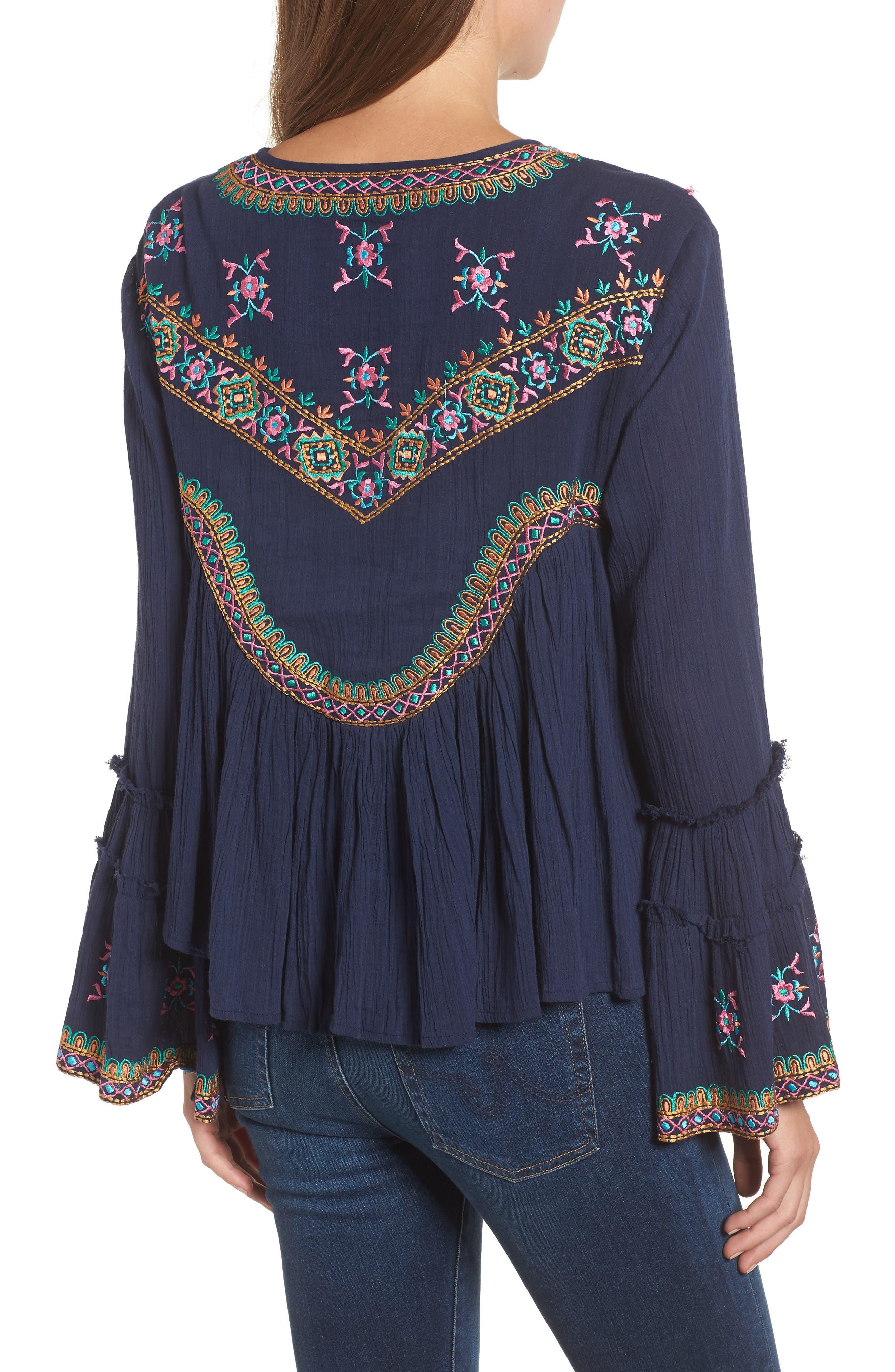 Megan Embroidered Cotton Gauze Blouse,                             Alternate thumbnail 2, color,                             NAVY