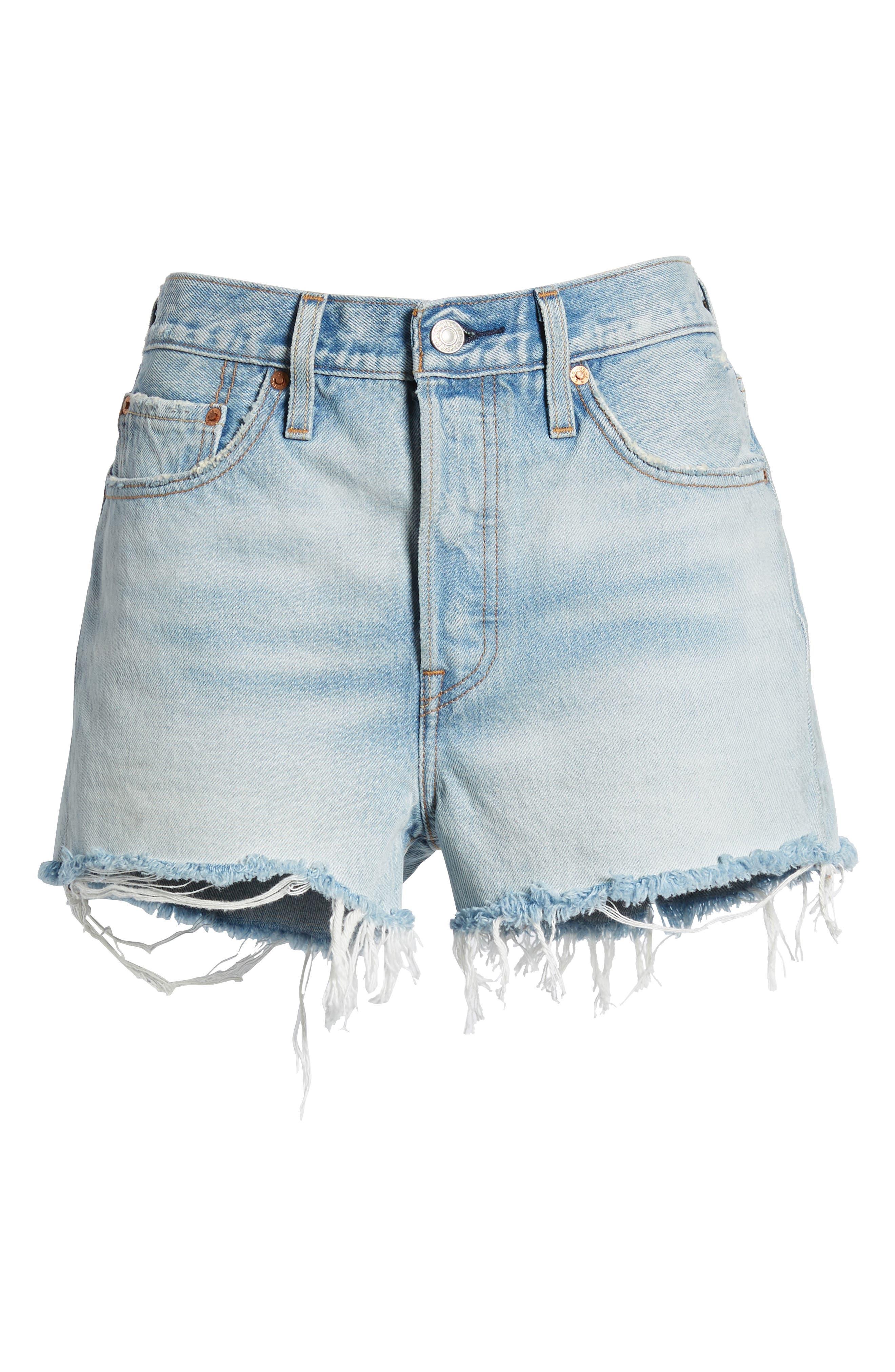 501<sup>®</sup> High Waist Denim Shorts,                             Alternate thumbnail 7, color,                             451