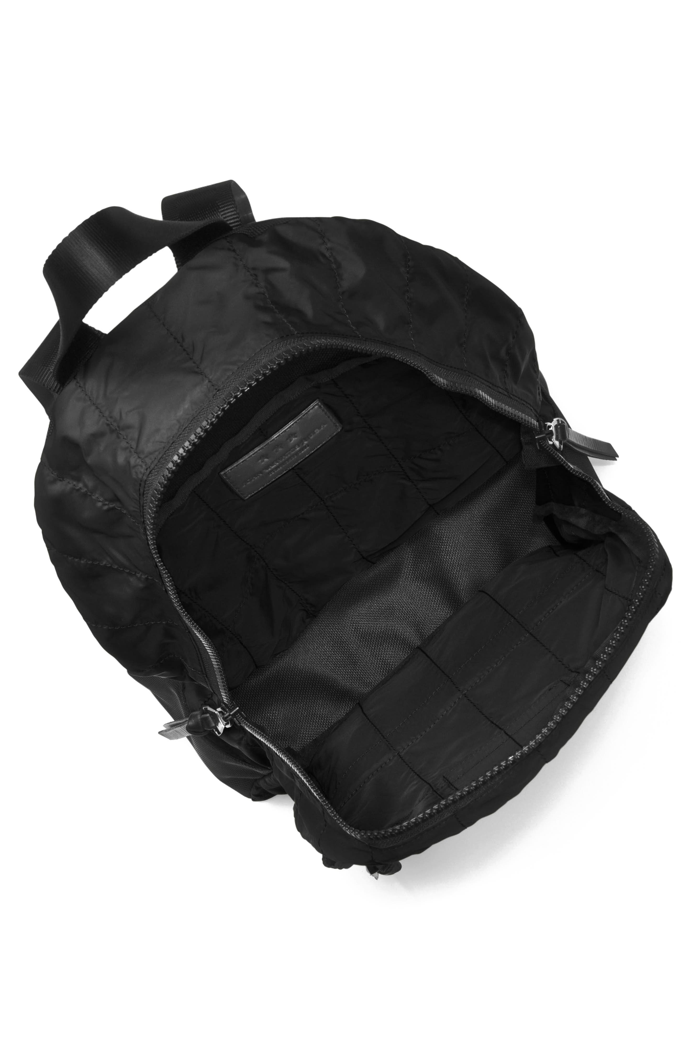 Quilted Nylon Backpack,                             Alternate thumbnail 3, color,                             001