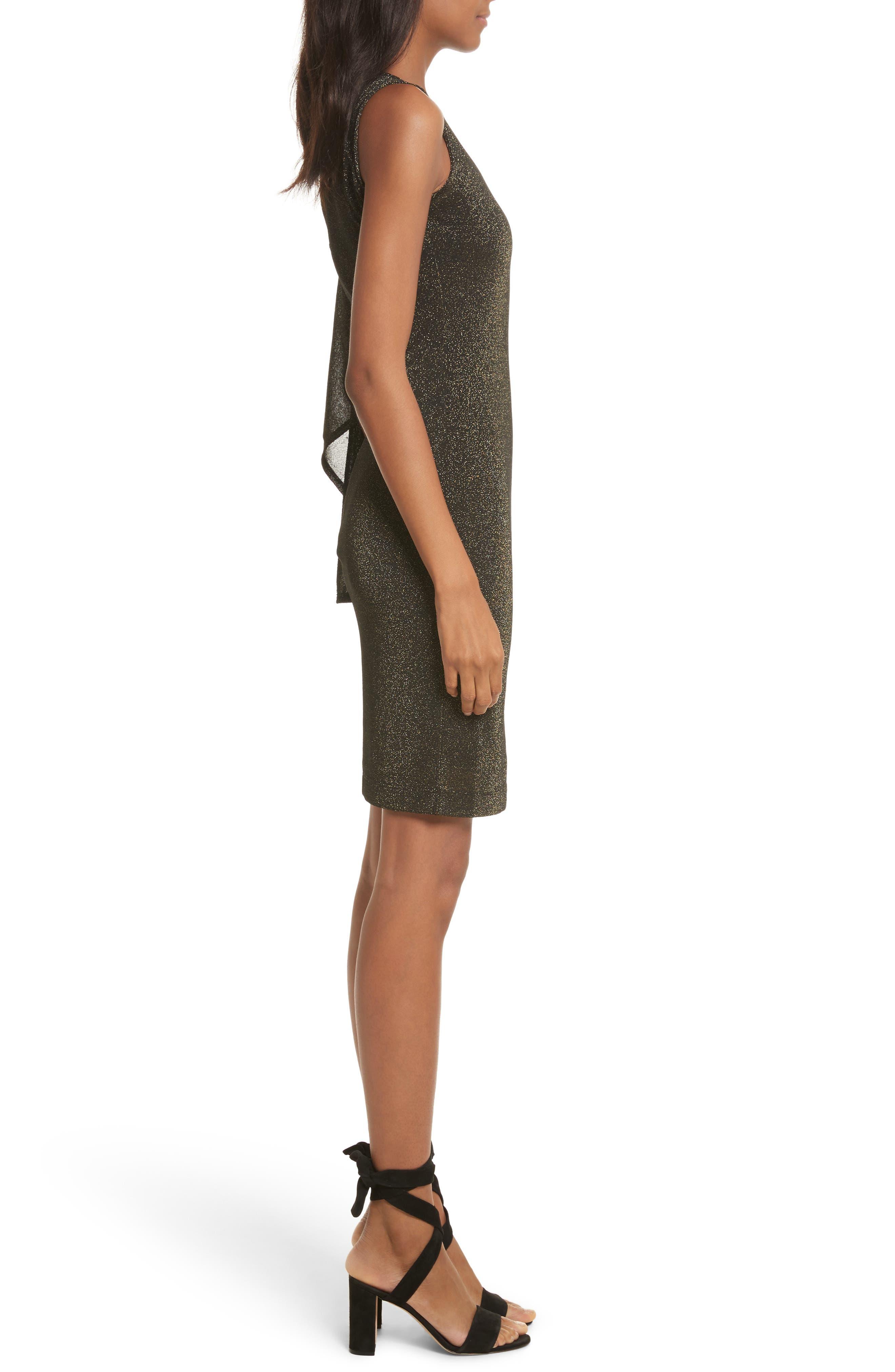 Draped One-Shoulder Dress,                             Alternate thumbnail 3, color,                             001
