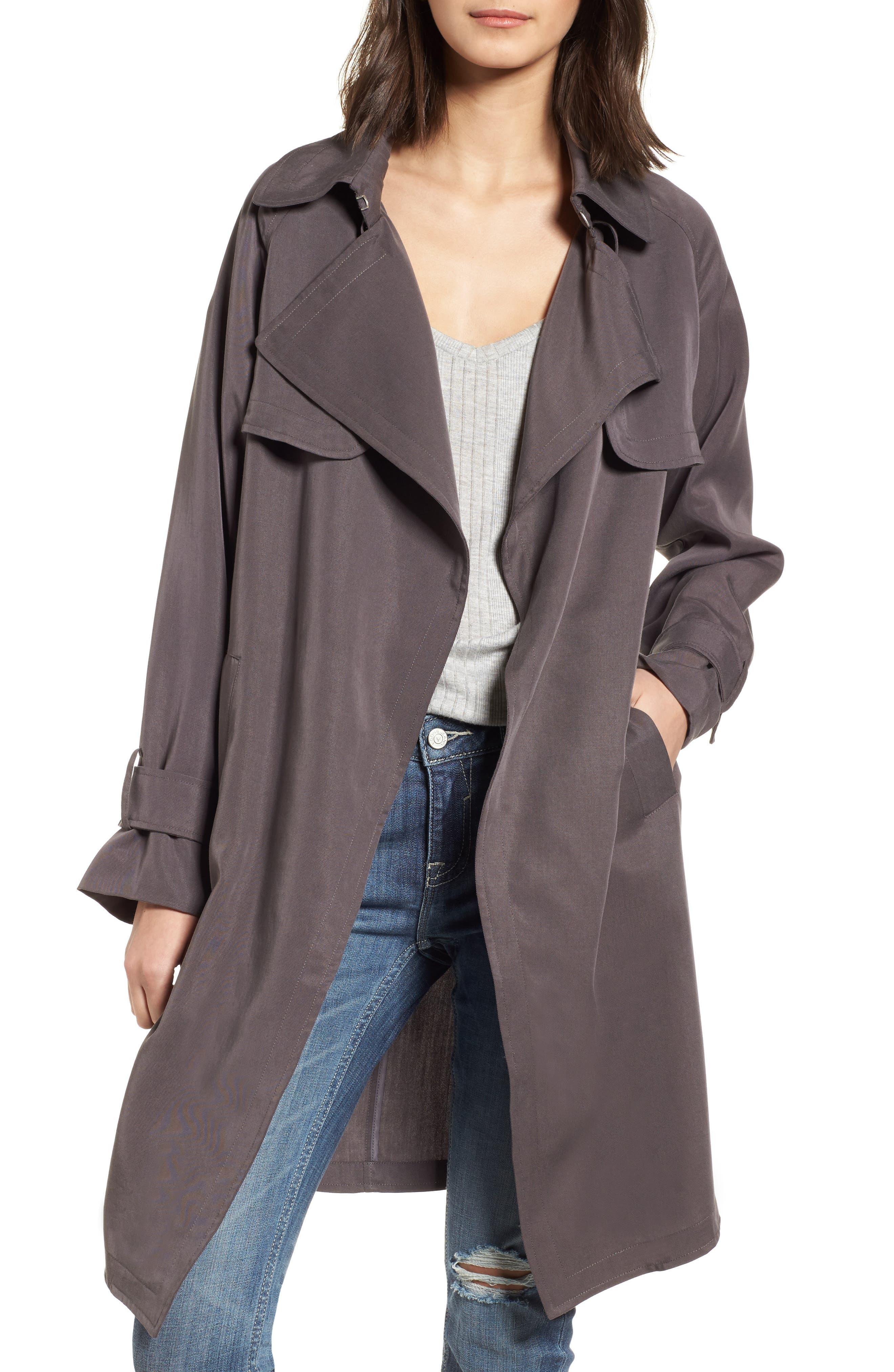 Ella Drape Trench Coat,                         Main,                         color, 020