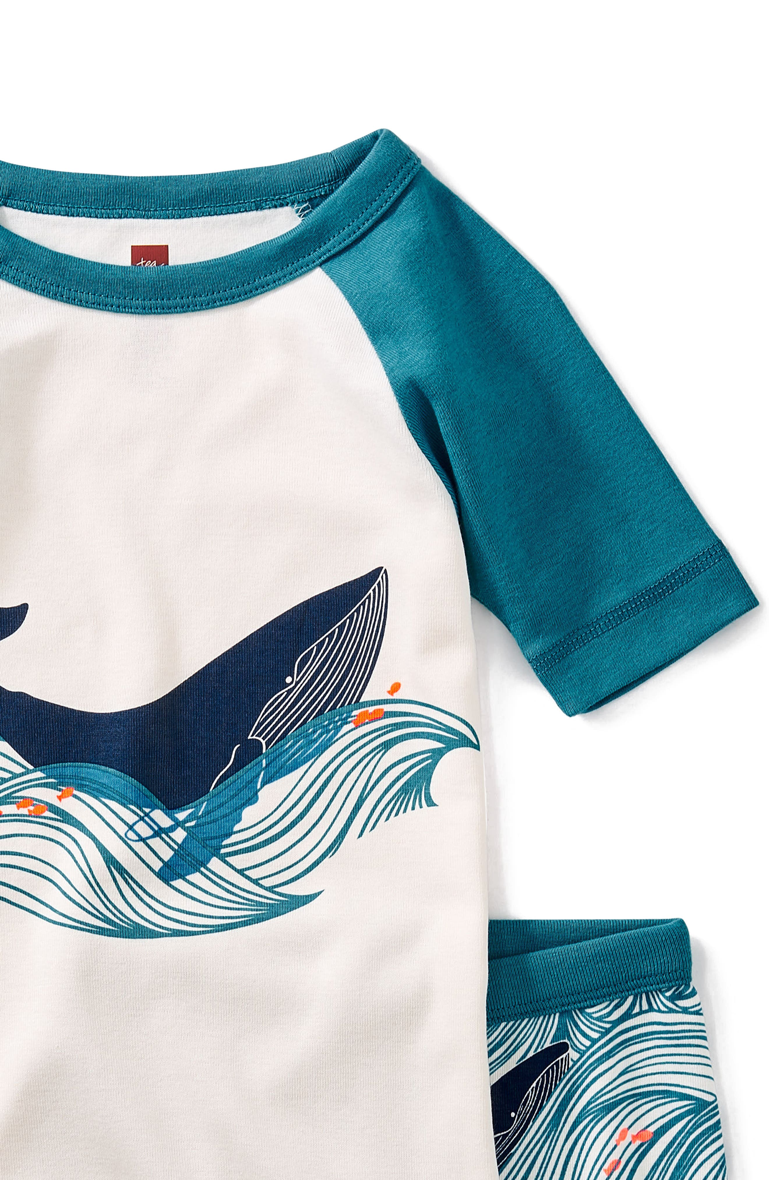 Wavy Whale Fitted Two-Piece Short Pajamas,                             Alternate thumbnail 2, color,                             400