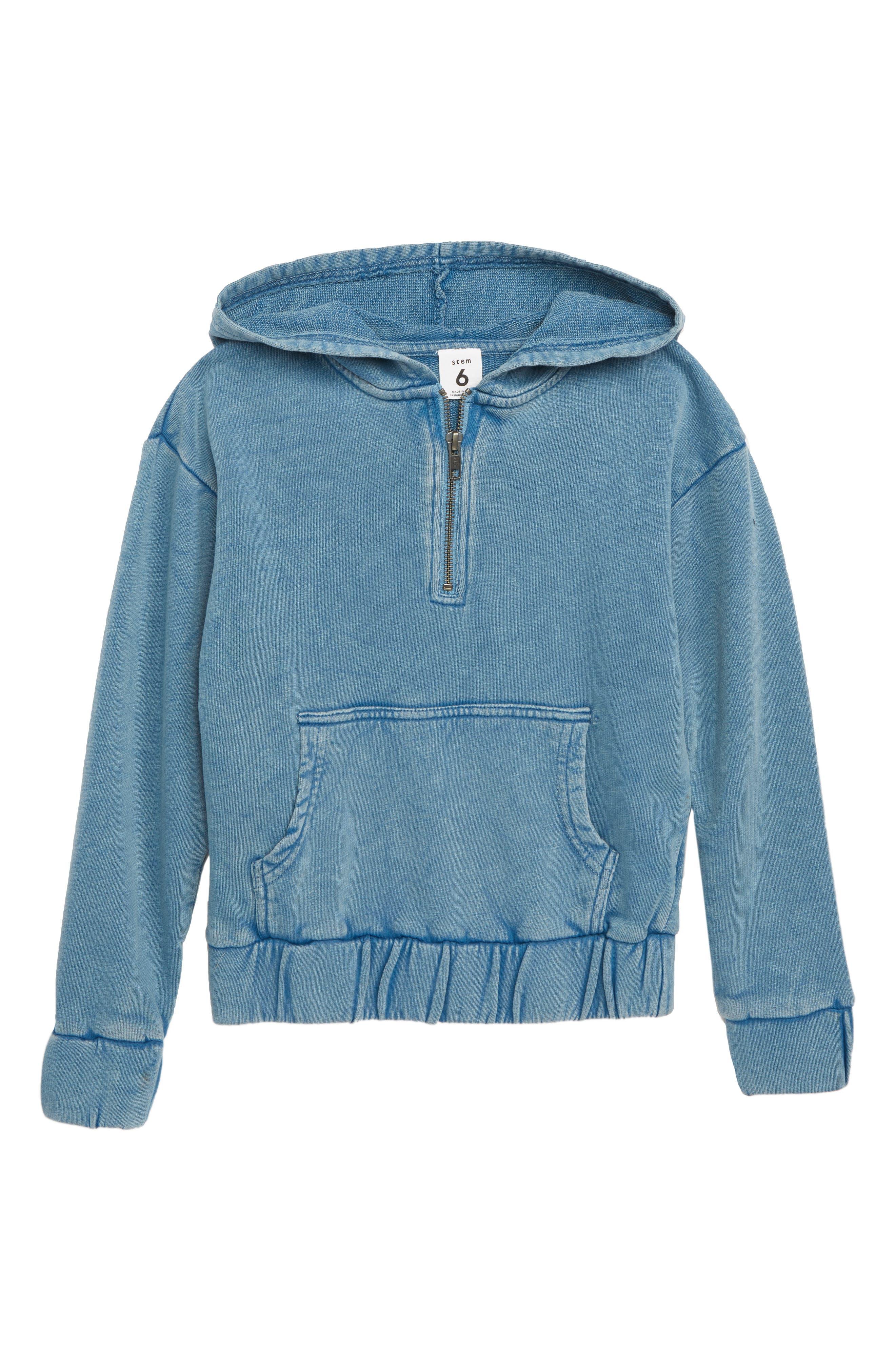 Quarter Zip Hoodie,                             Main thumbnail 1, color,                             BLUE BOAT