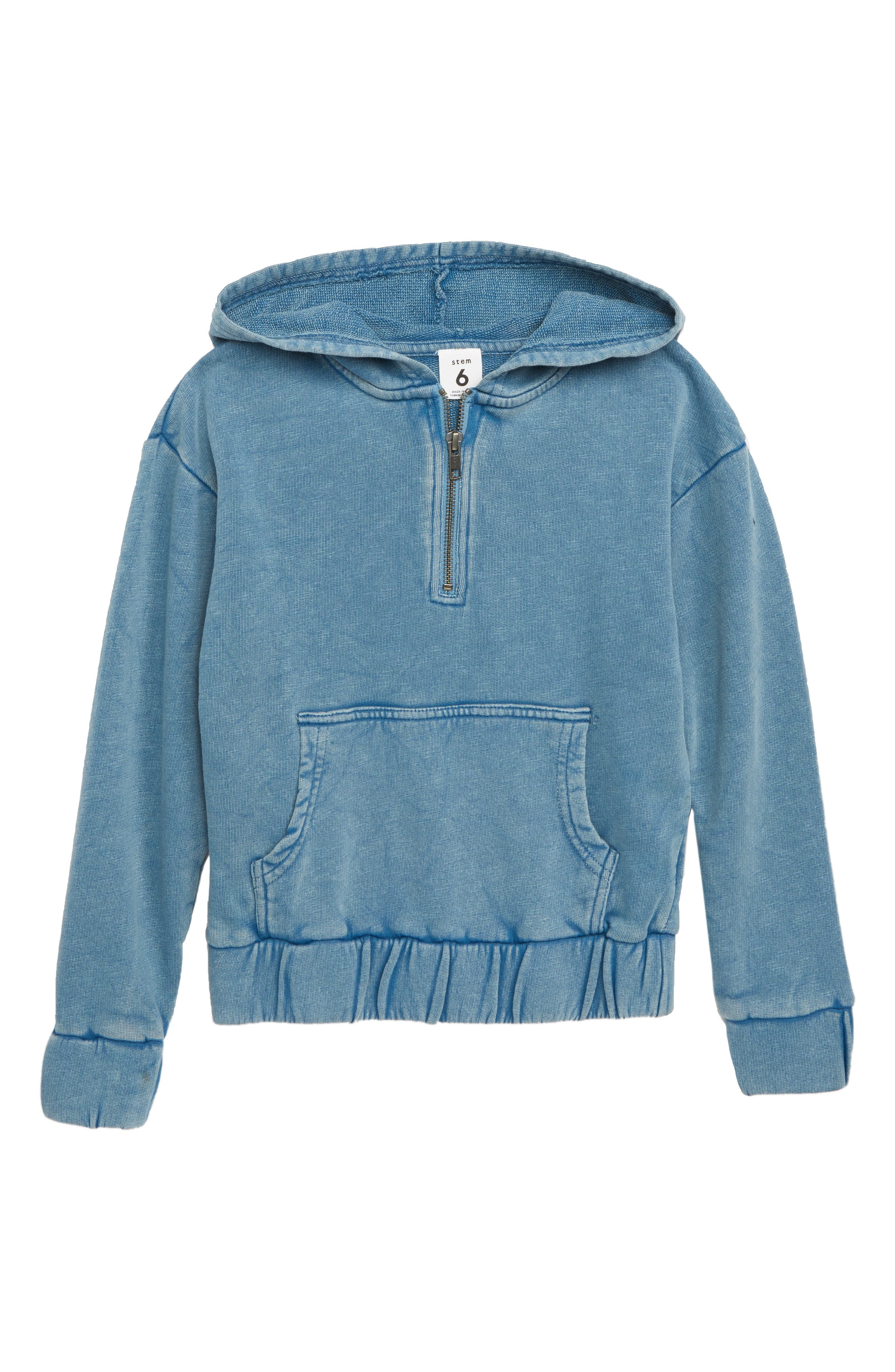 Quarter Zip Hoodie,                         Main,                         color, BLUE BOAT