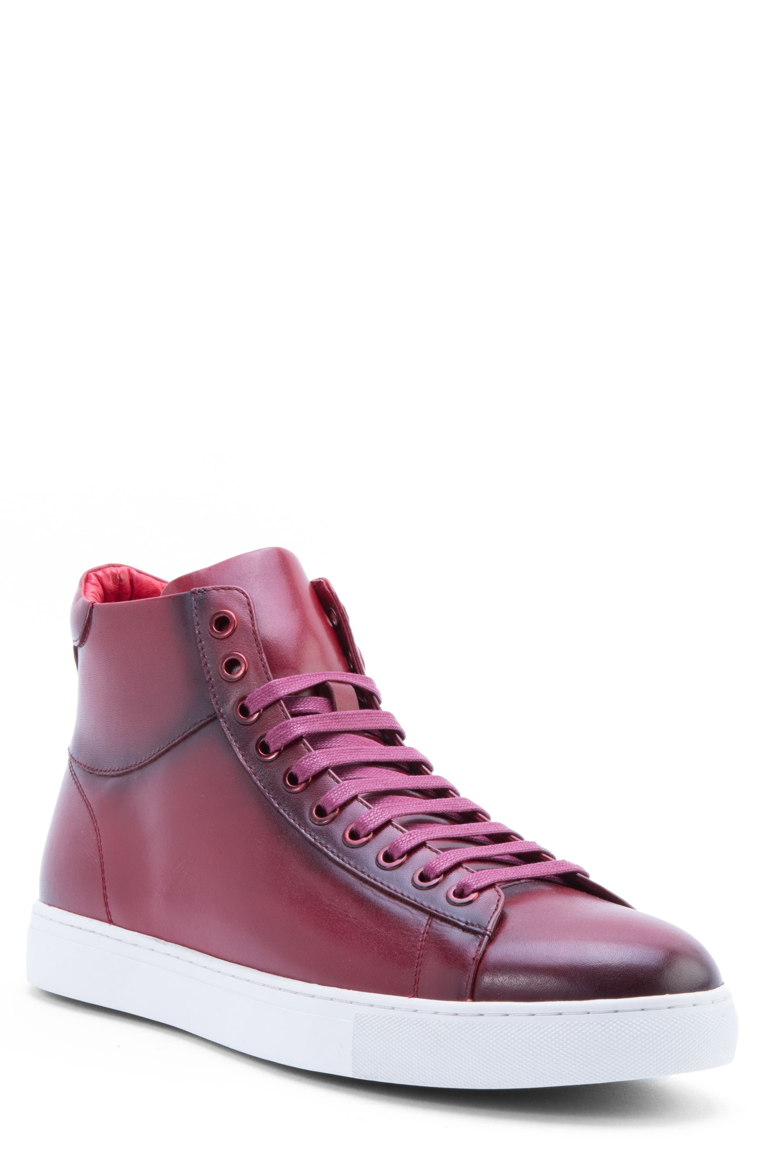 Spinback High Top Sneaker,                         Main,                         color, RED LEATHER