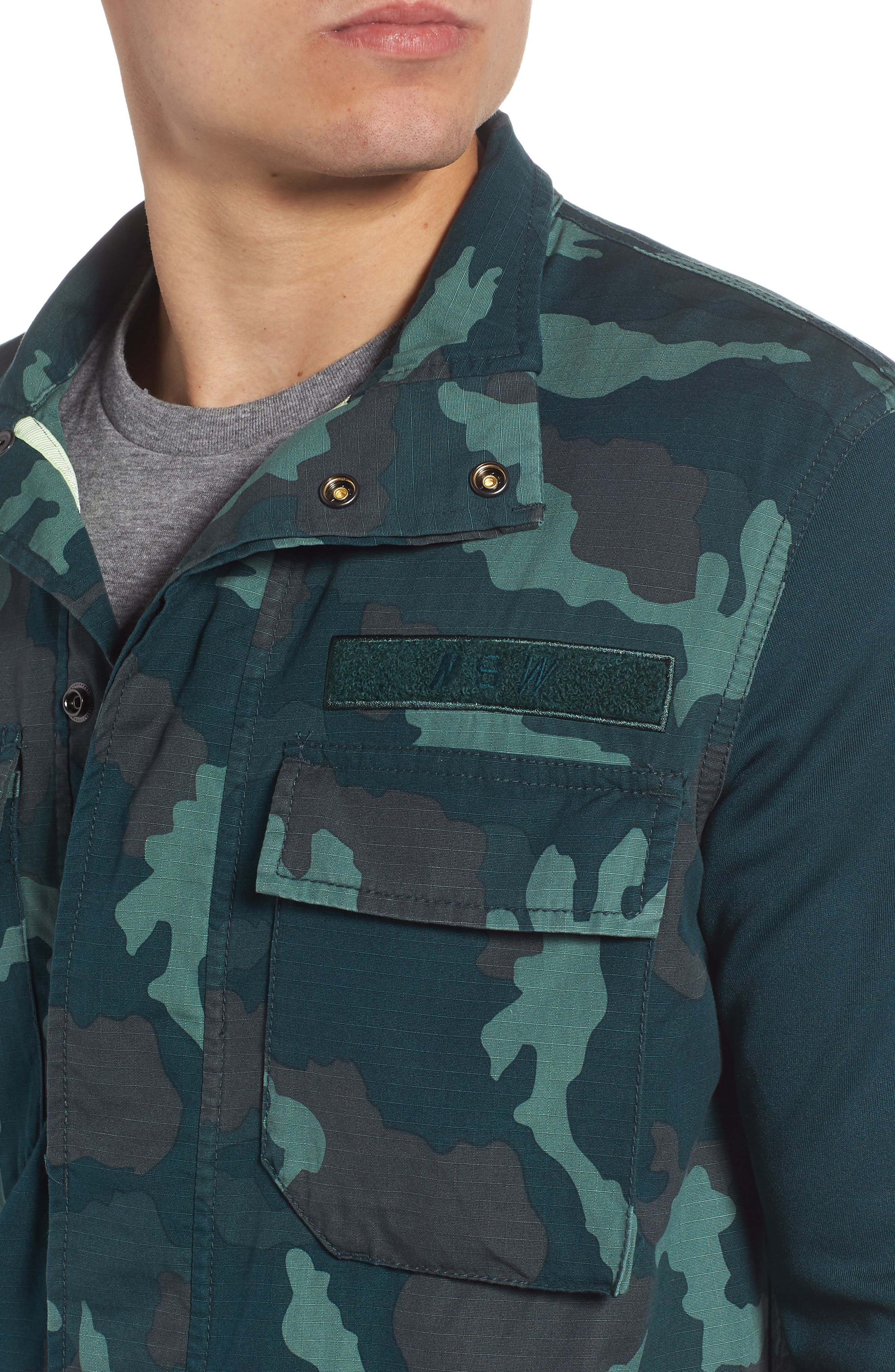 NSW Lightweight Camo Field Jacket,                             Alternate thumbnail 4, color,                             MIDNIGHT SPRUCE