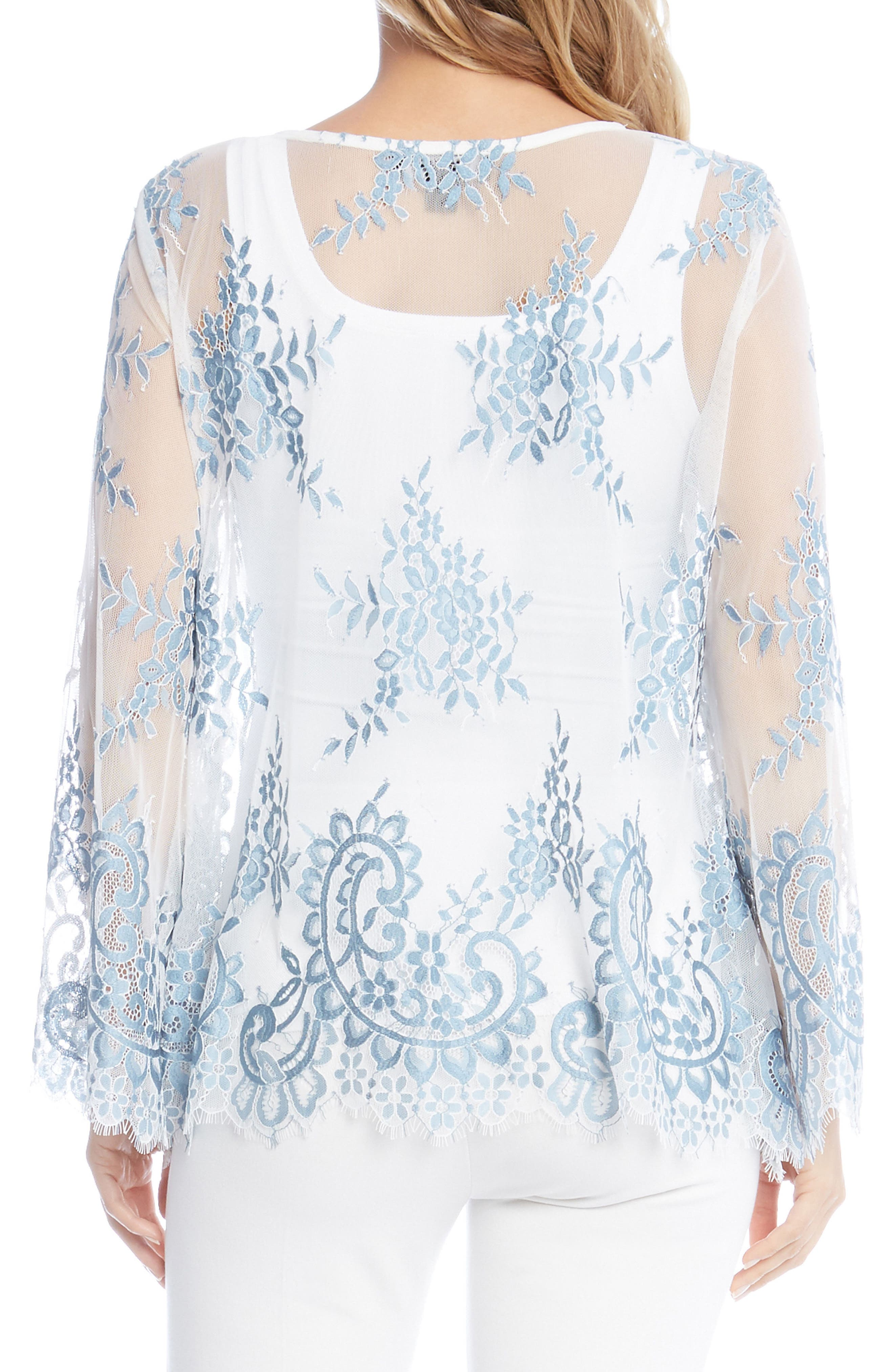 Embroidered Floral Lace Top,                             Alternate thumbnail 2, color,                             451