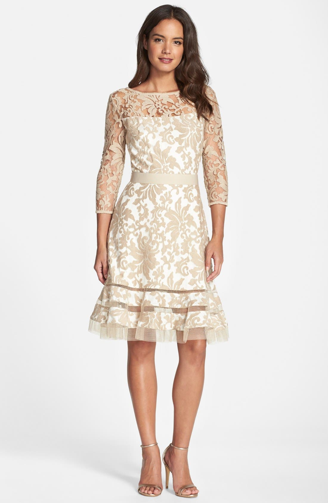 Lace Overlay Dress,                             Alternate thumbnail 19, color,