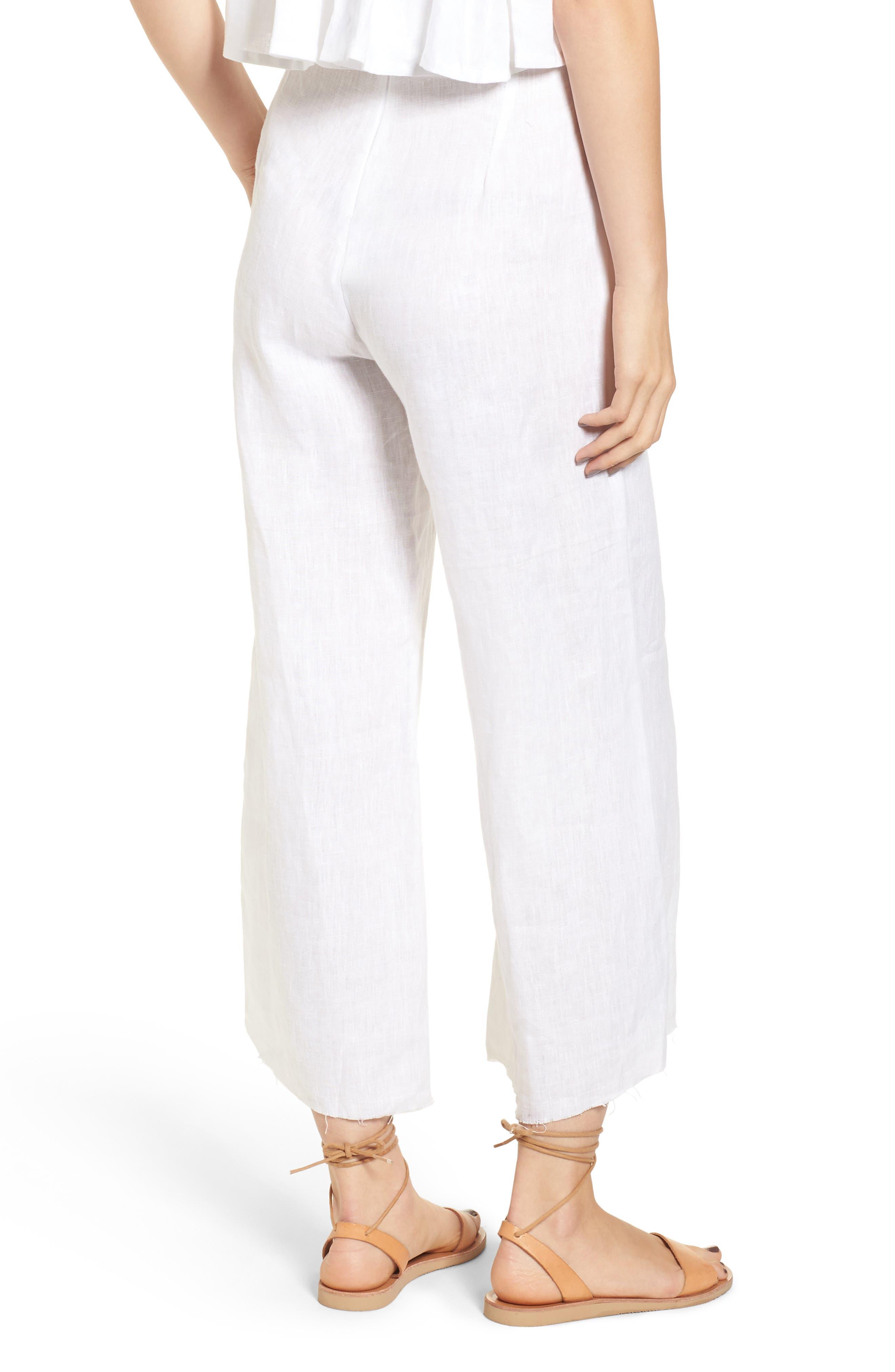 Como Crop Wide Leg Linen Pants,                             Alternate thumbnail 2, color,                             100