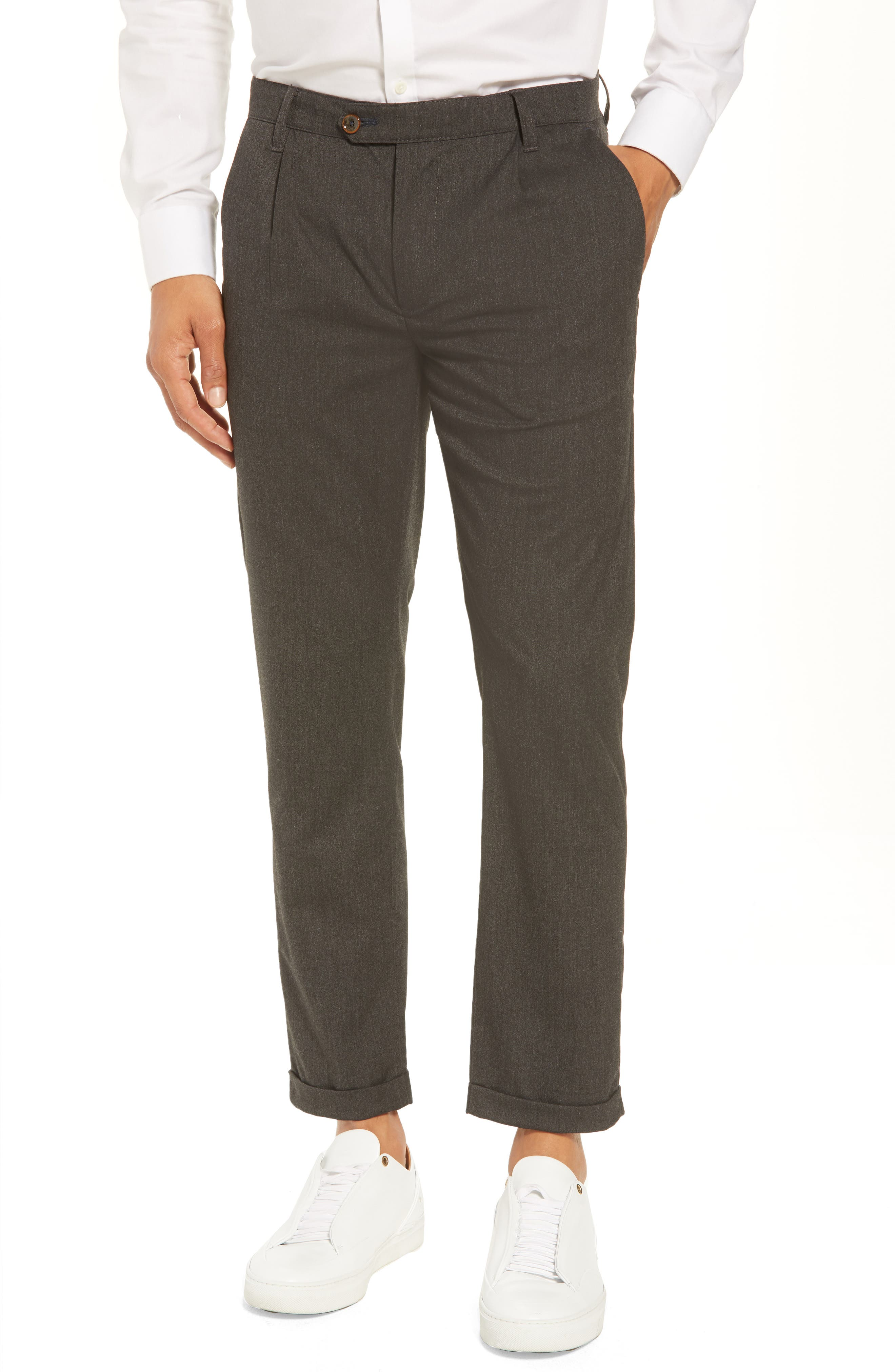 TED BAKER LONDON Champi Pleated Cropped Pants, Main, color, 001