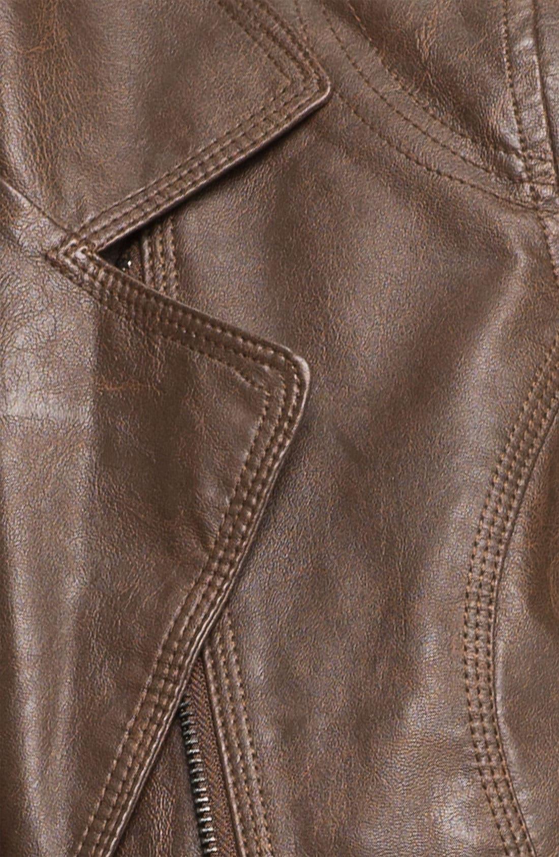 COFFEE SHOP,                             Vintage Faux Leather Moto Jacket,                             Alternate thumbnail 3, color,                             204
