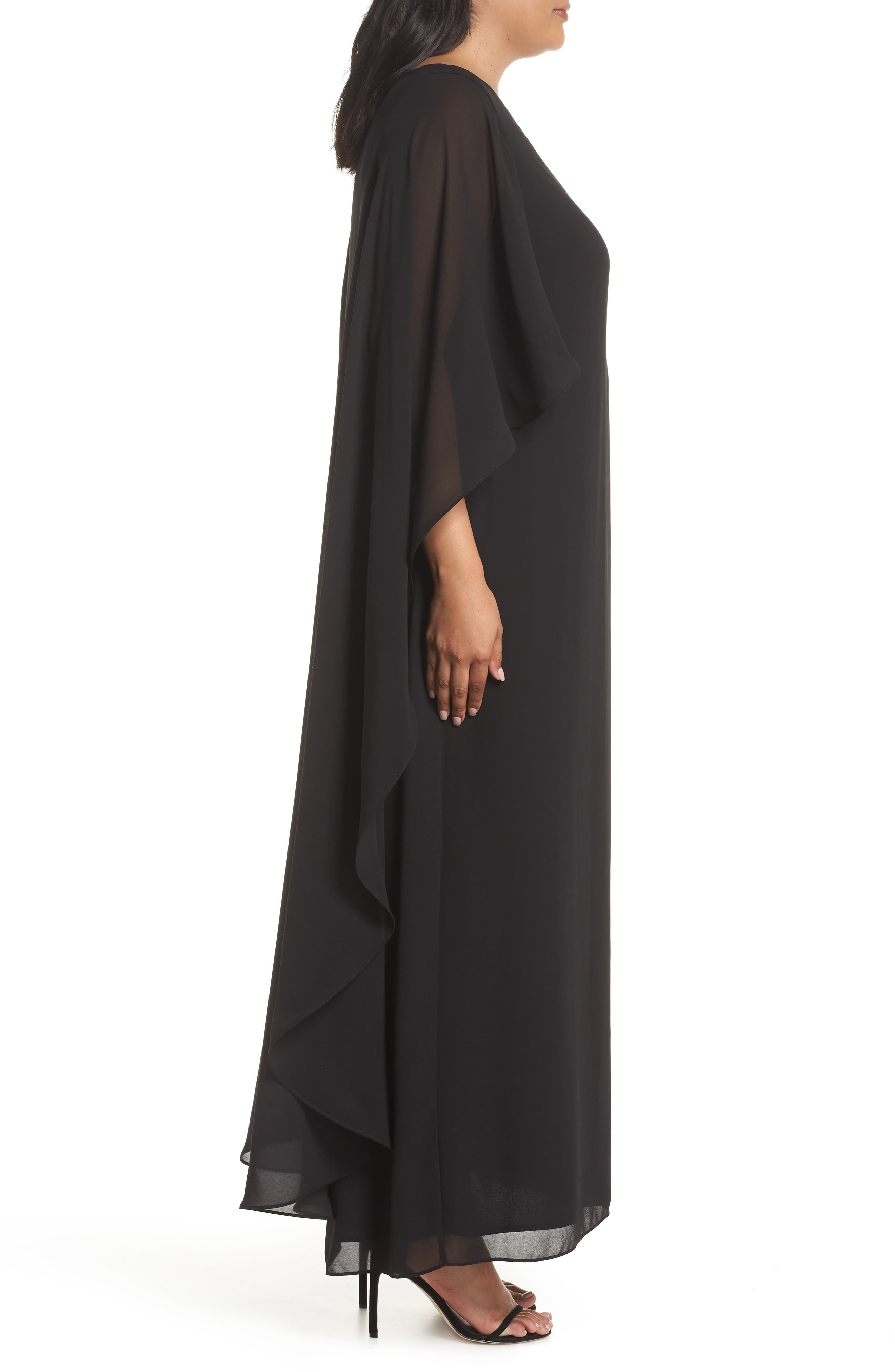 Cape Overlay Chiffon Gown,                             Alternate thumbnail 3, color,                             BLACK