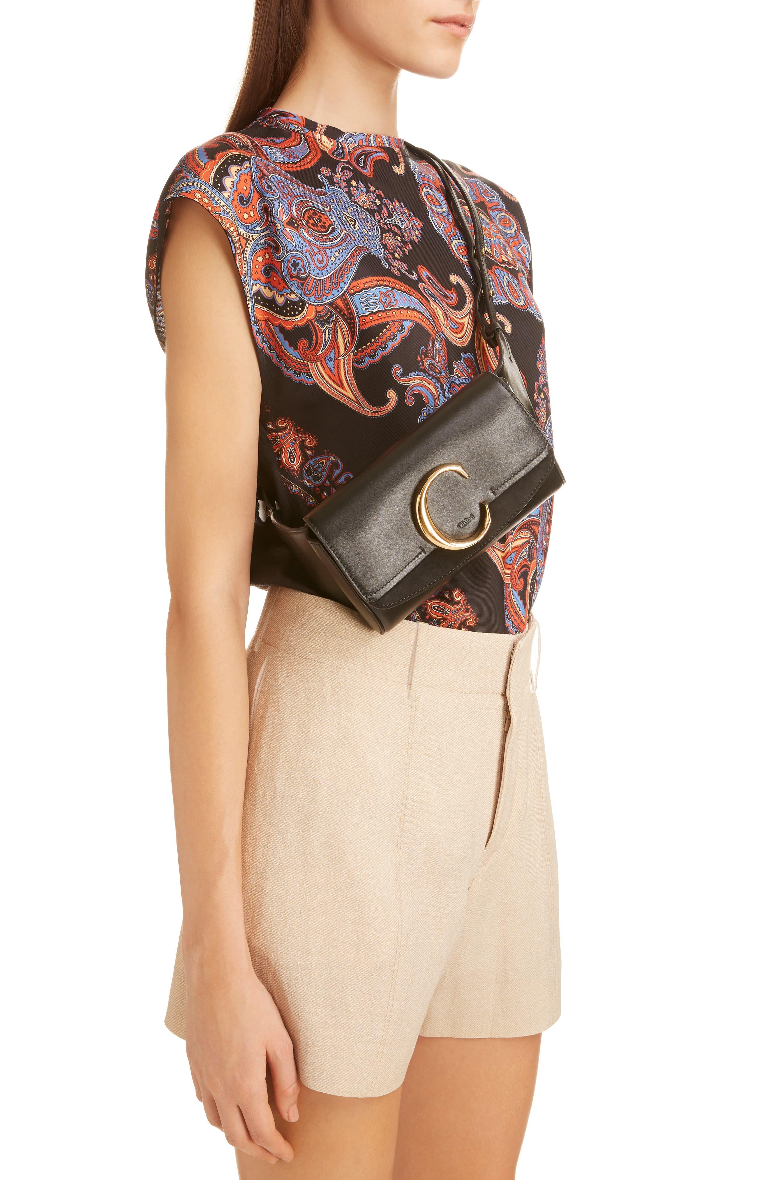 CHLOÉ,                             C Leather Convertible Belt Bag,                             Alternate thumbnail 2, color,                             BLACK