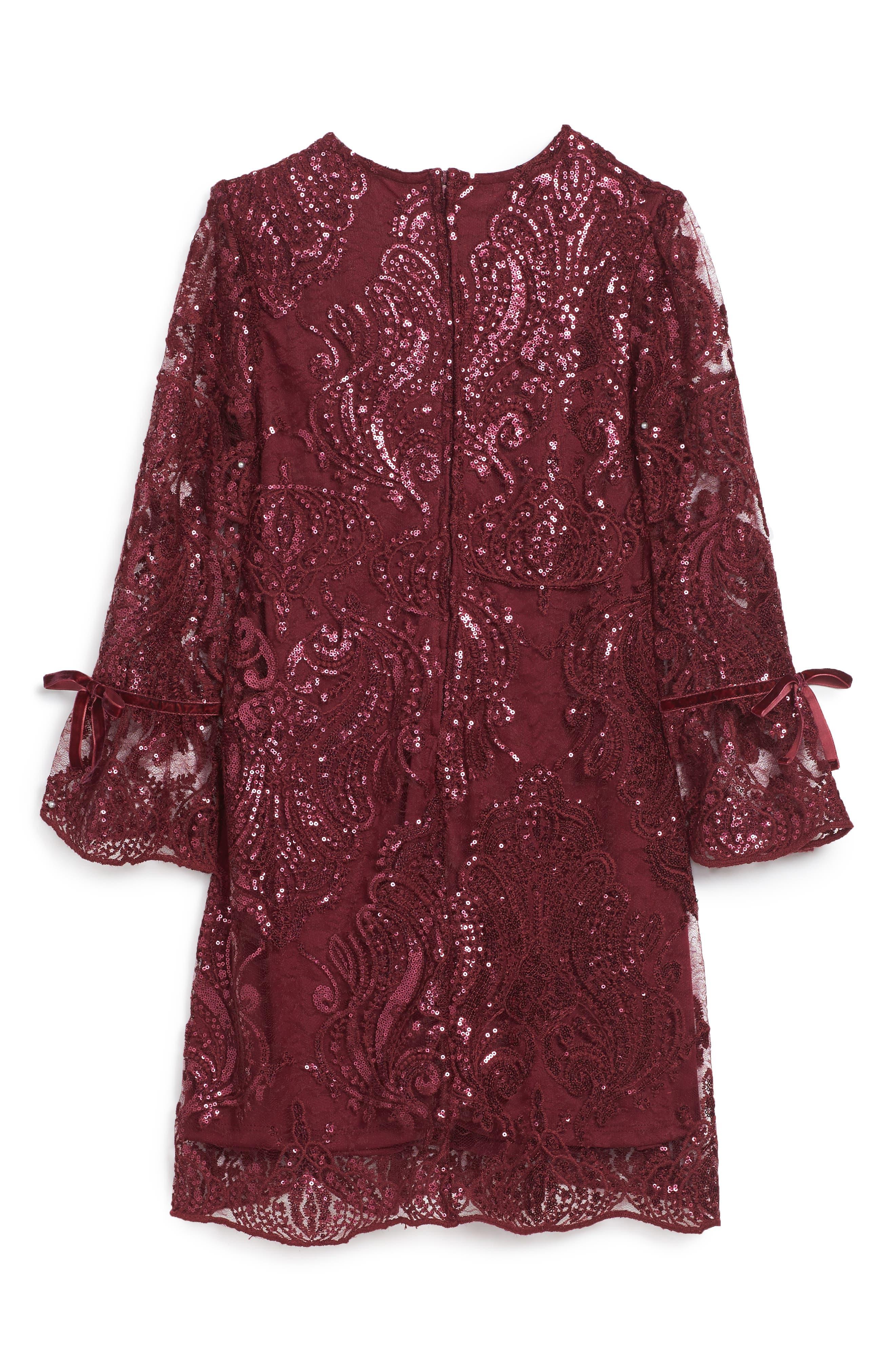 Scalloped Sequin Embellished Shift Dress,                             Alternate thumbnail 2, color,                             600