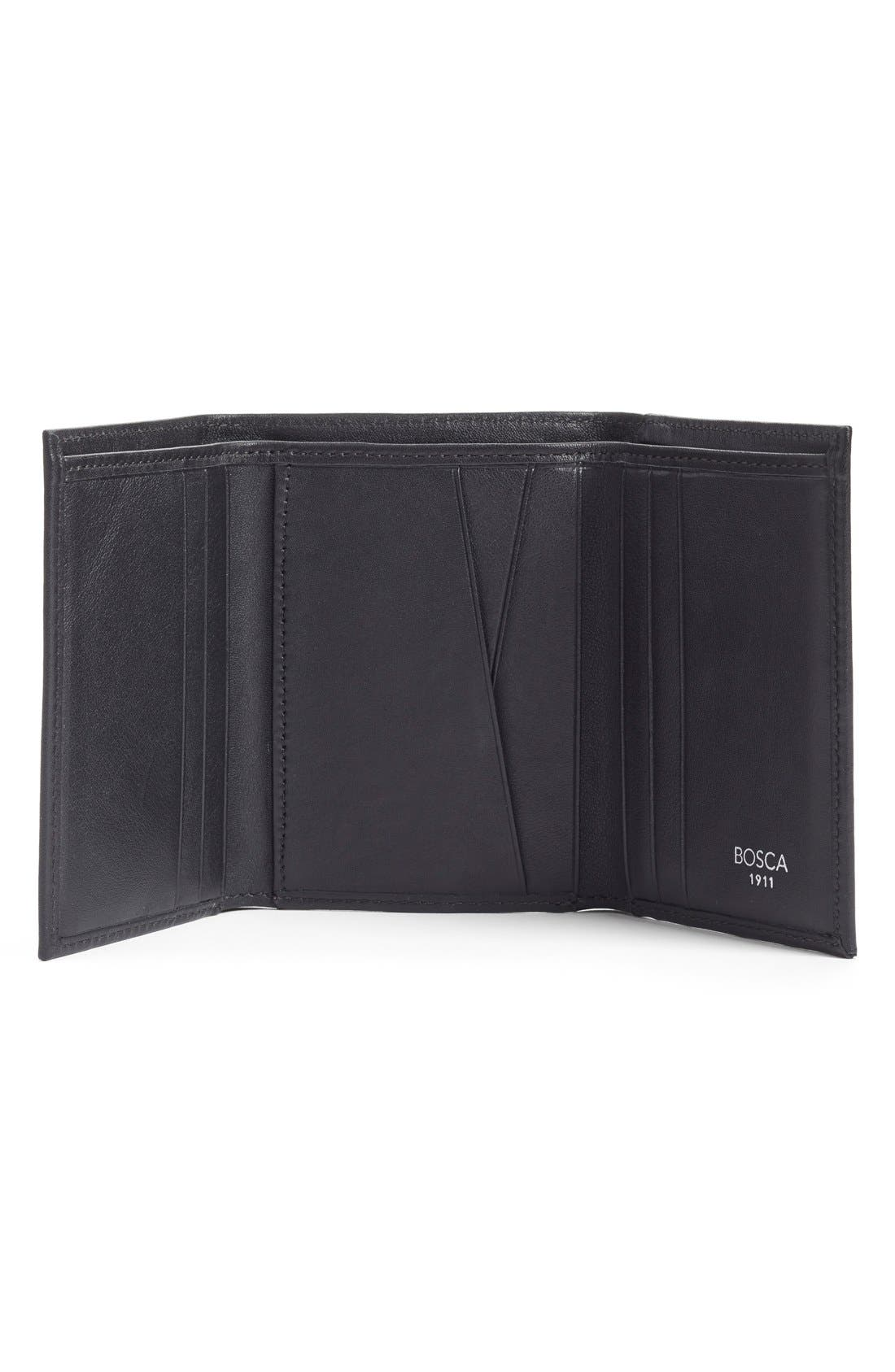 Leather Trifold Wallet,                             Alternate thumbnail 3, color,                             BLACK