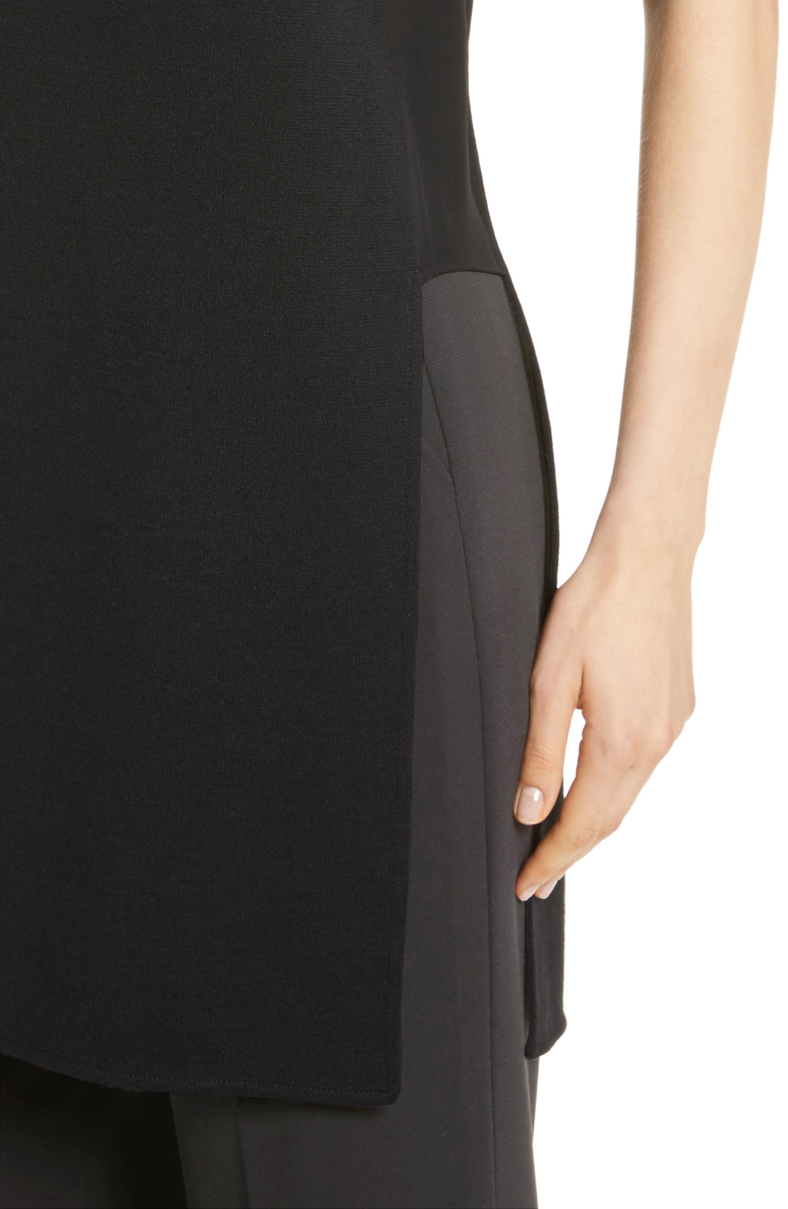 Silk Inset Milano Knit Tunic,                             Alternate thumbnail 4, color,                             001