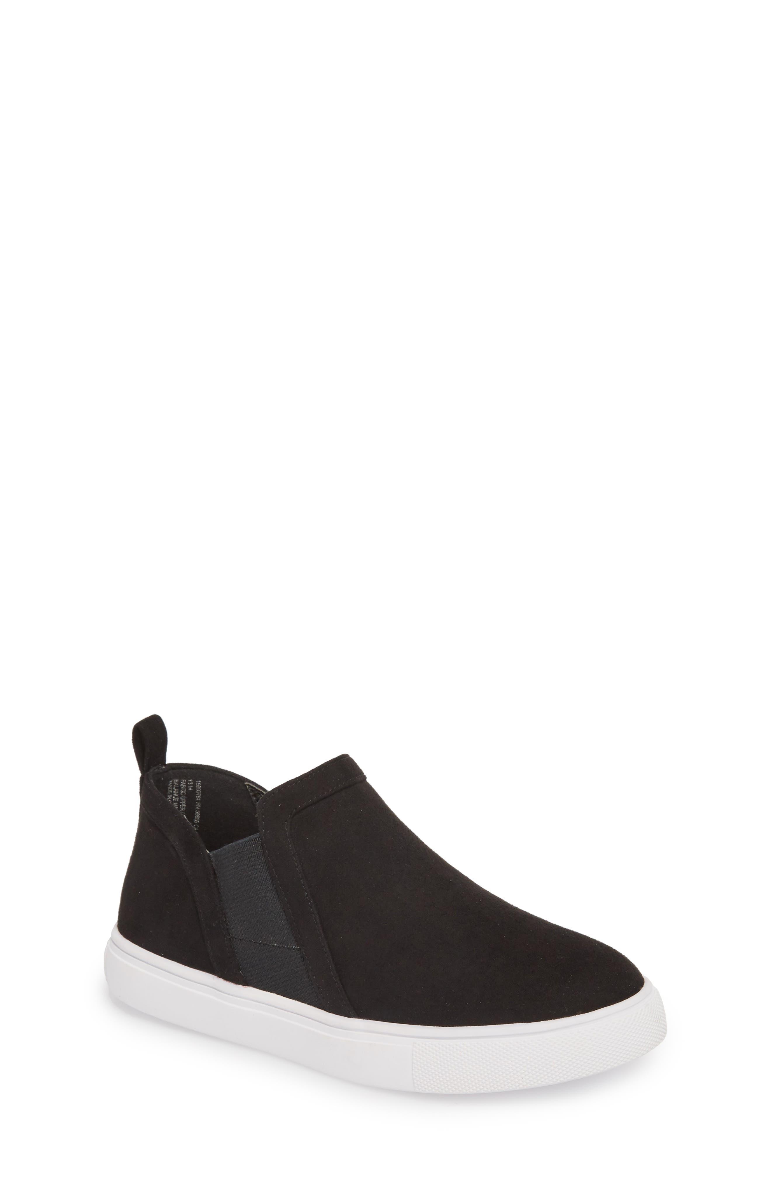 Scarlett Sneaker,                             Main thumbnail 1, color,                             BLACK FAUX SUEDE