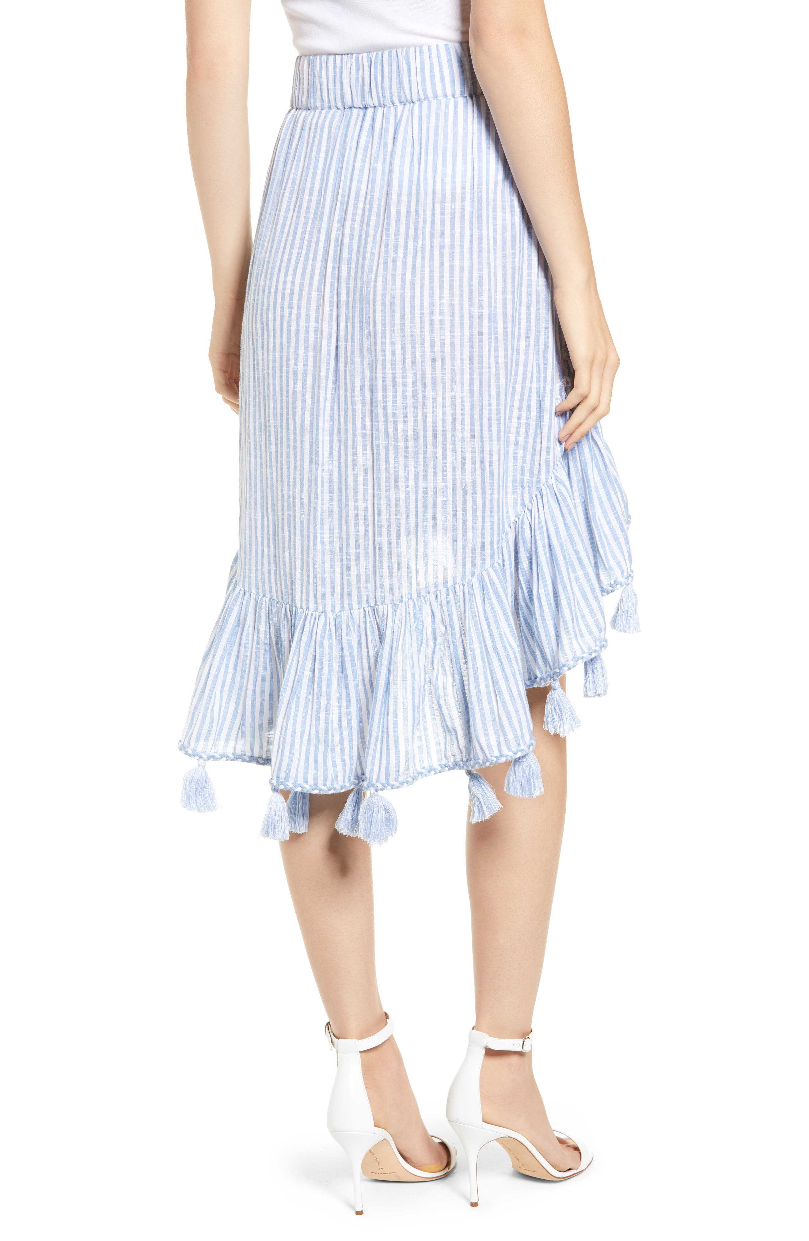 Rosero Ruffle High/Low Skirt,                             Alternate thumbnail 2, color,                             BLUE STRIPE