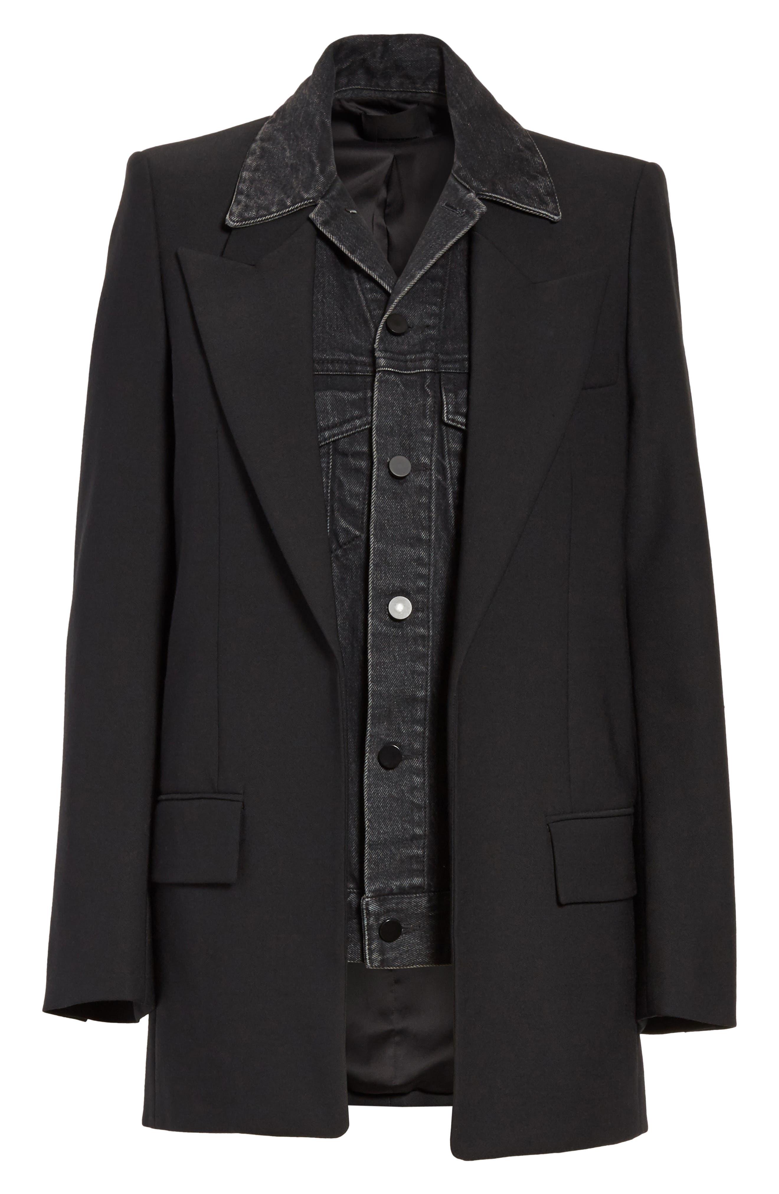 Denim & Wool Blend Layered Jacket,                             Alternate thumbnail 5, color,                             001