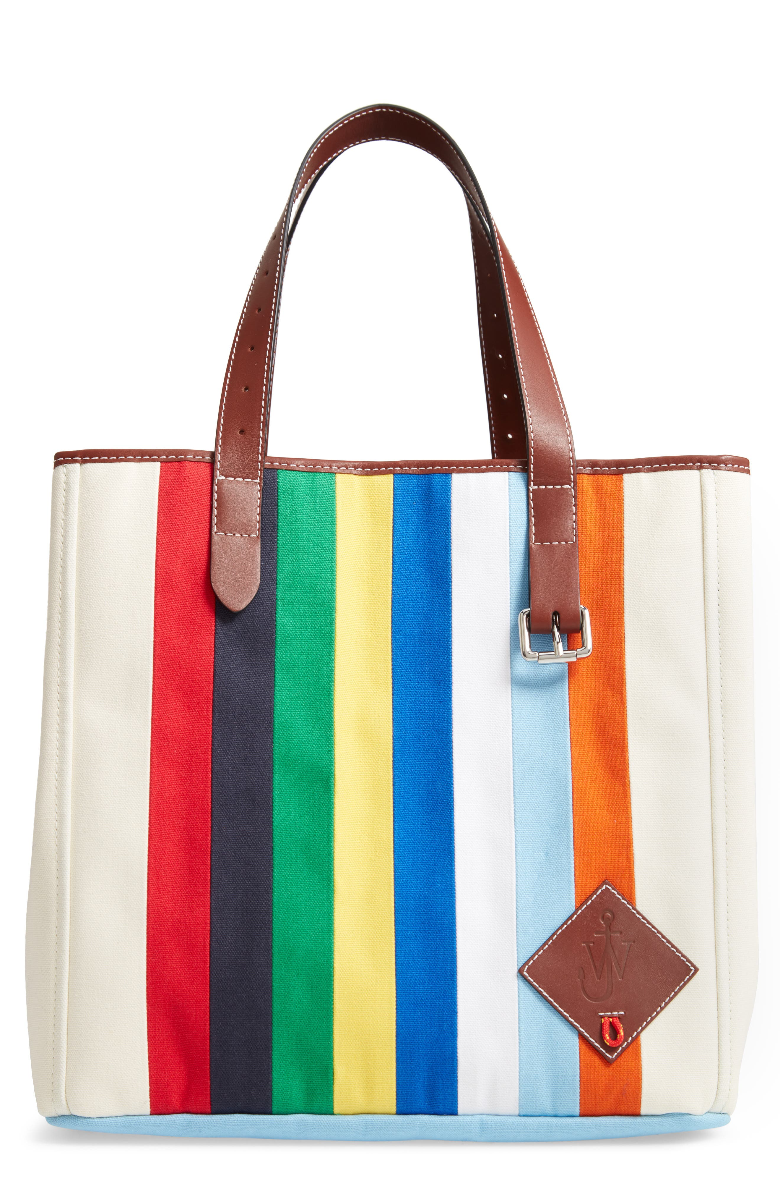 J.w.anderson PATCHWORK BELT CANVAS TOTE - IVORY