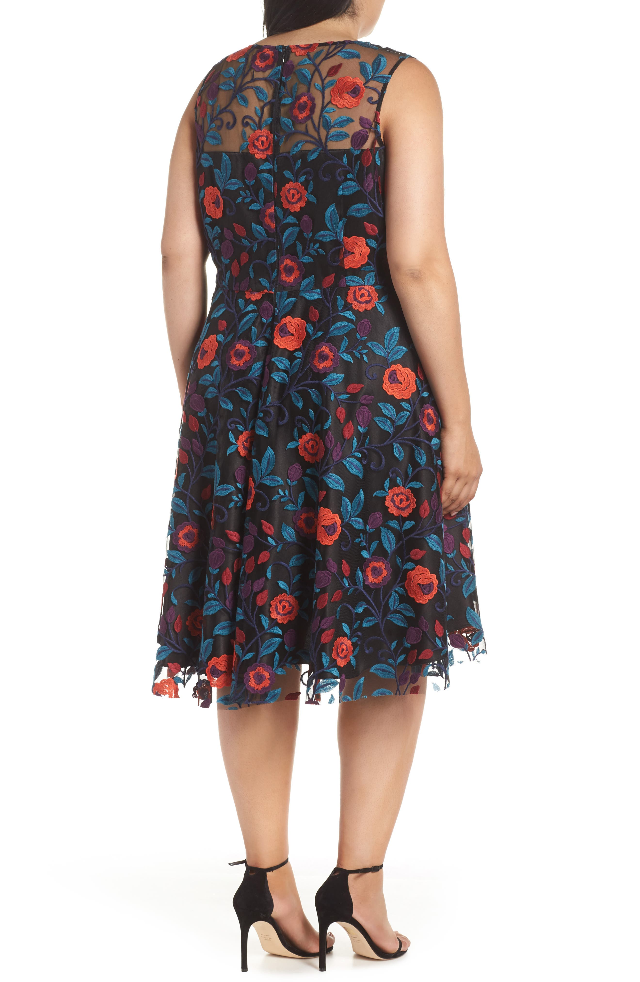 Floral Embroidery Fit and Flare Dress,                             Alternate thumbnail 2, color,                             648