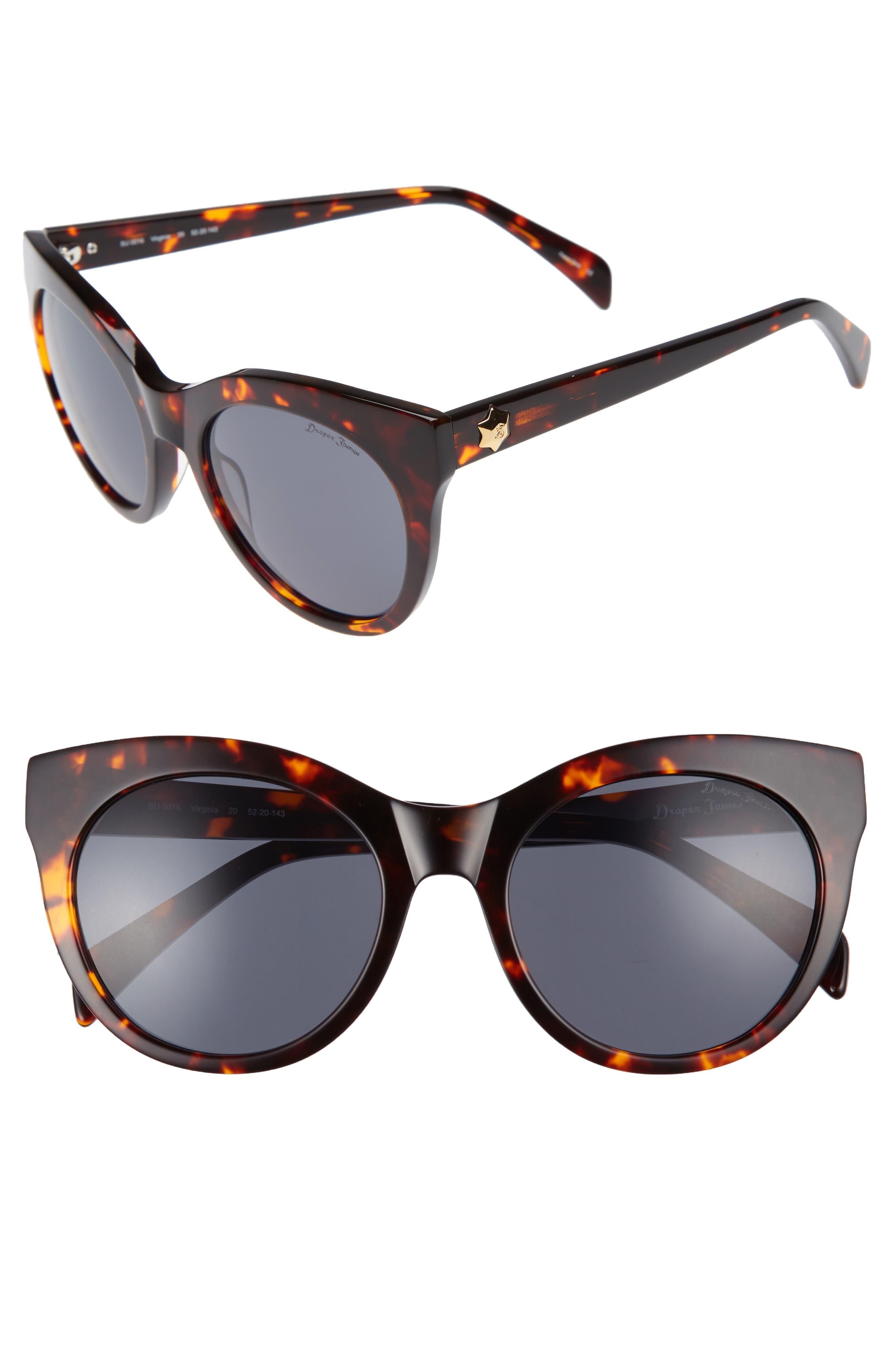 52mm Round Cat Eye Sunglasses,                             Main thumbnail 2, color,