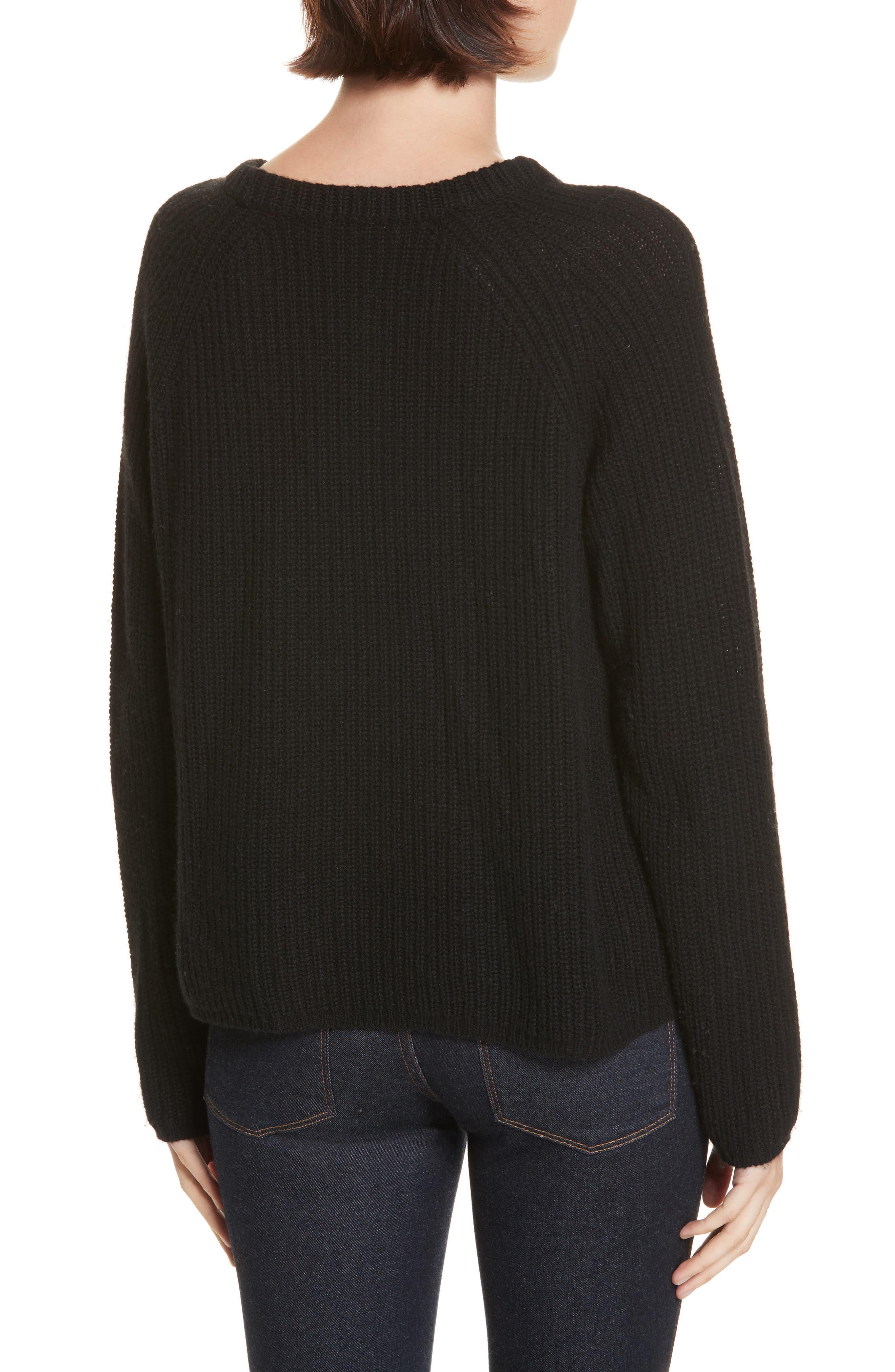 JENNI KAYNE,                             Fisherman Crewneck Cashmere Sweater,                             Alternate thumbnail 2, color,                             001