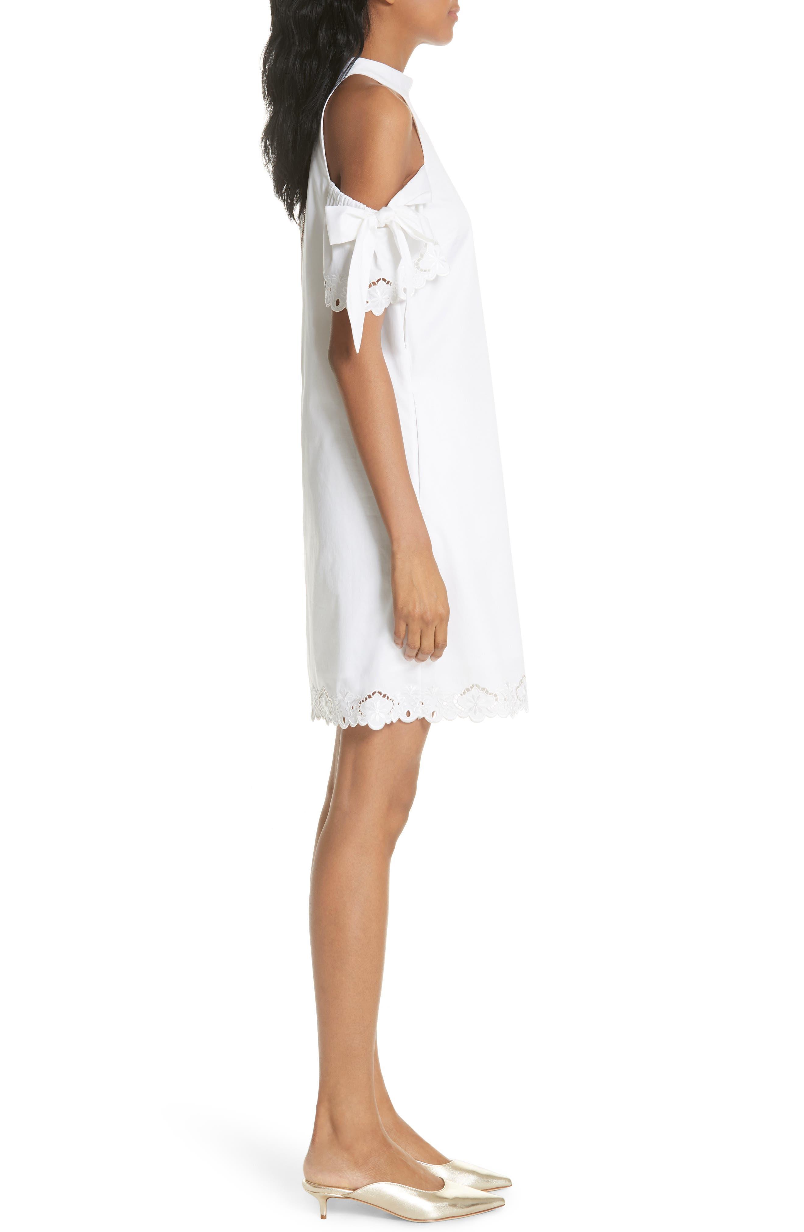 Semarra Embroidered Cold Shoulder Dress,                             Alternate thumbnail 3, color,                             110