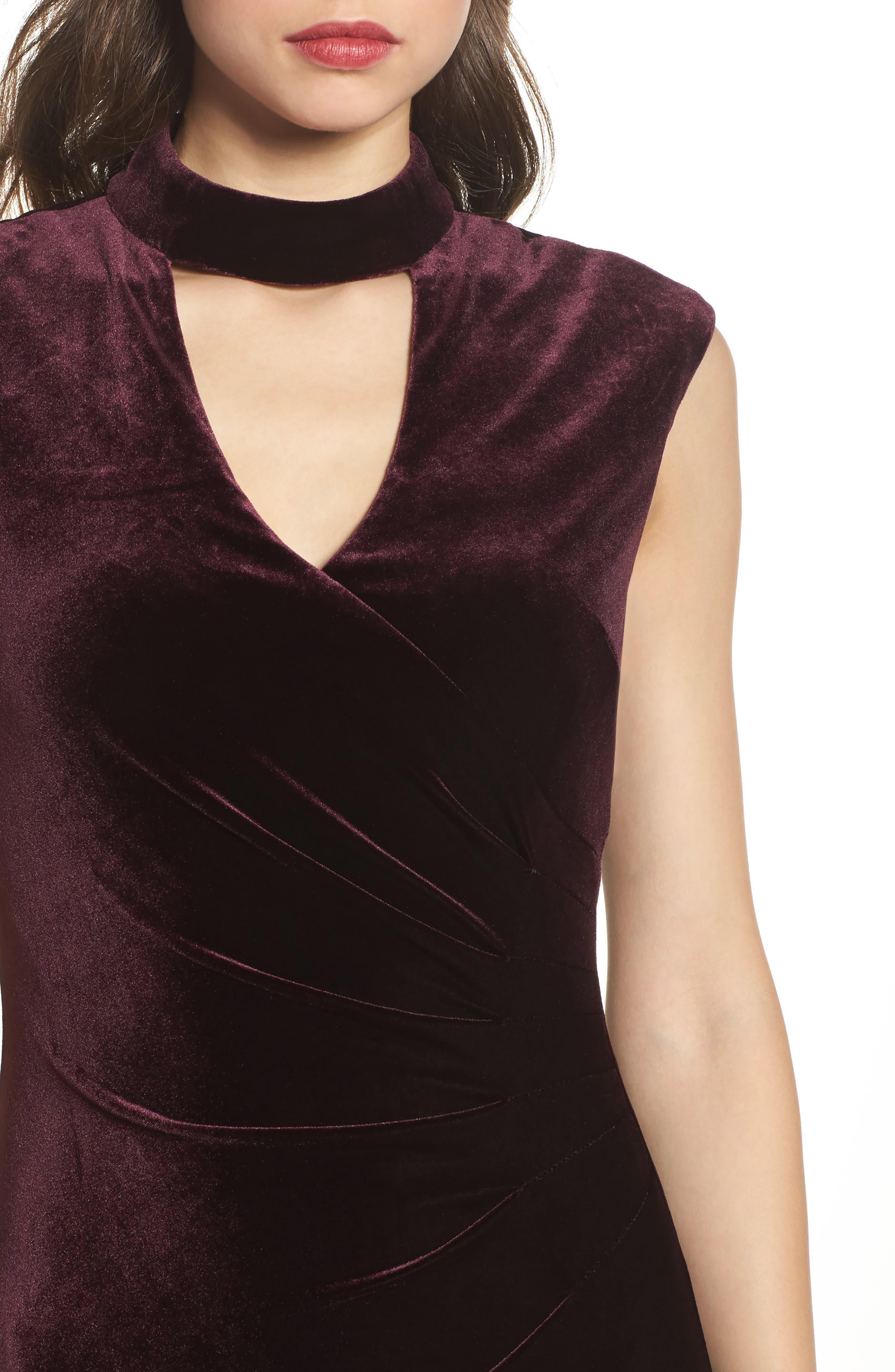 Side Pleated Velvet Choker Gown,                             Alternate thumbnail 4, color,                             507