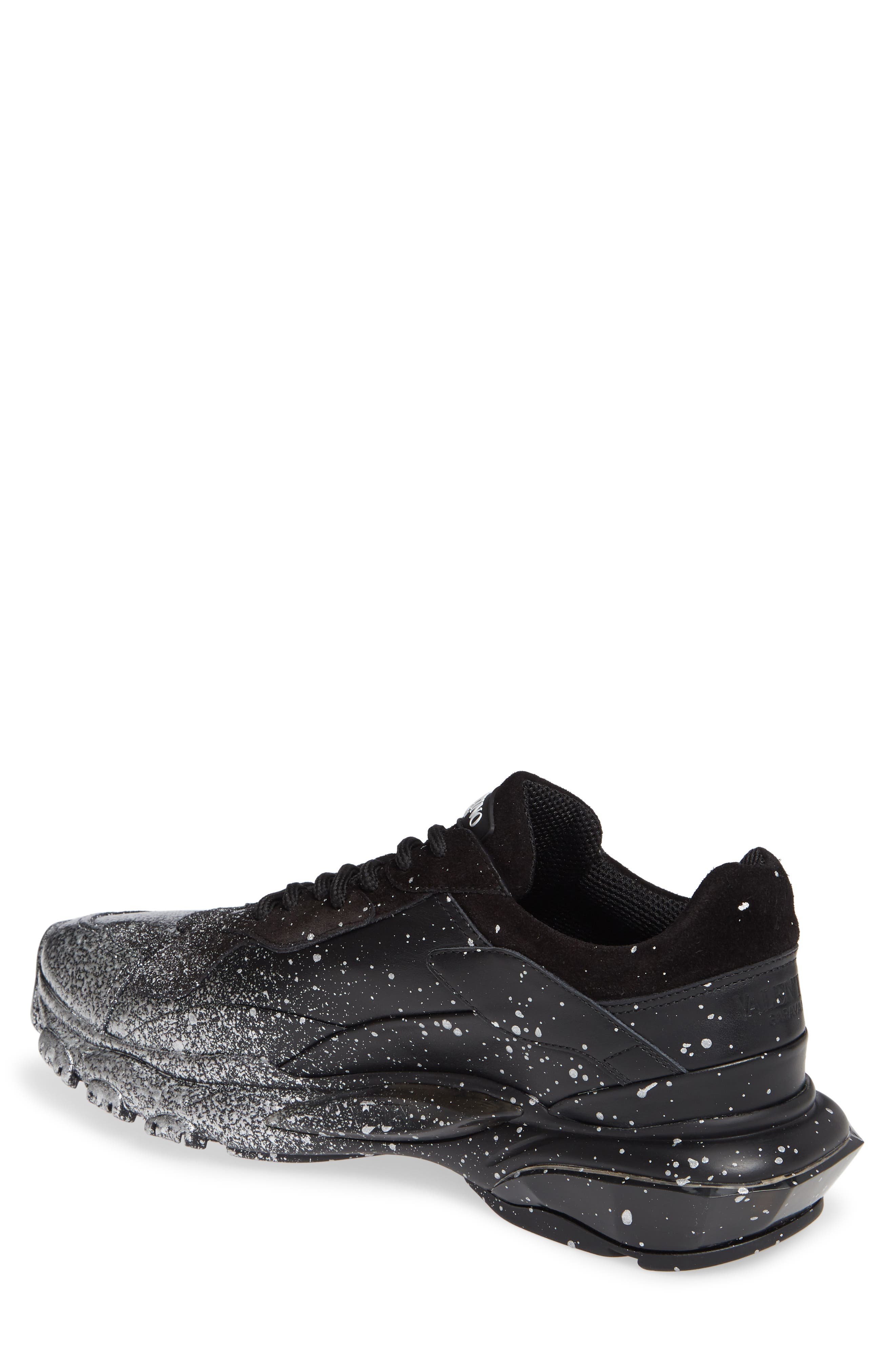 Bounce Paint Splatter Sneaker,                             Alternate thumbnail 2, color,                             BLACK/ SILVER