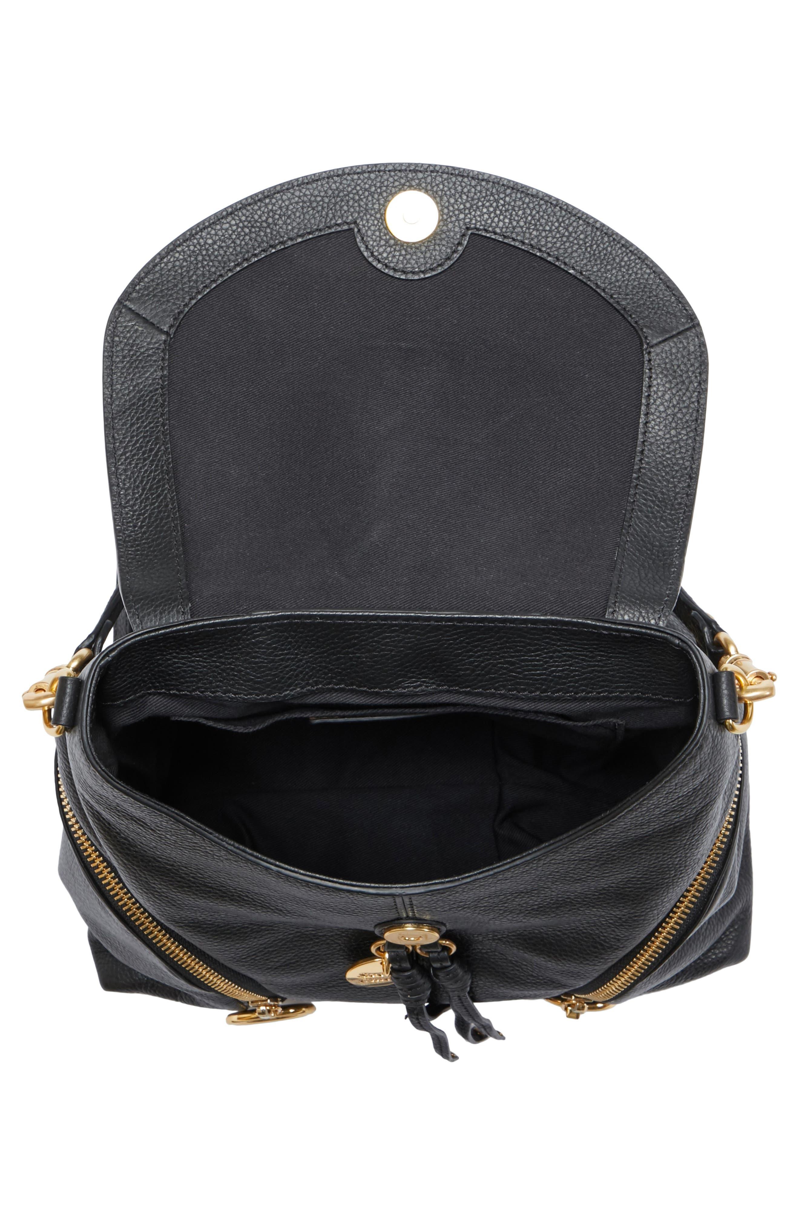 Olga Large Leather Backpack,                             Alternate thumbnail 4, color,                             001