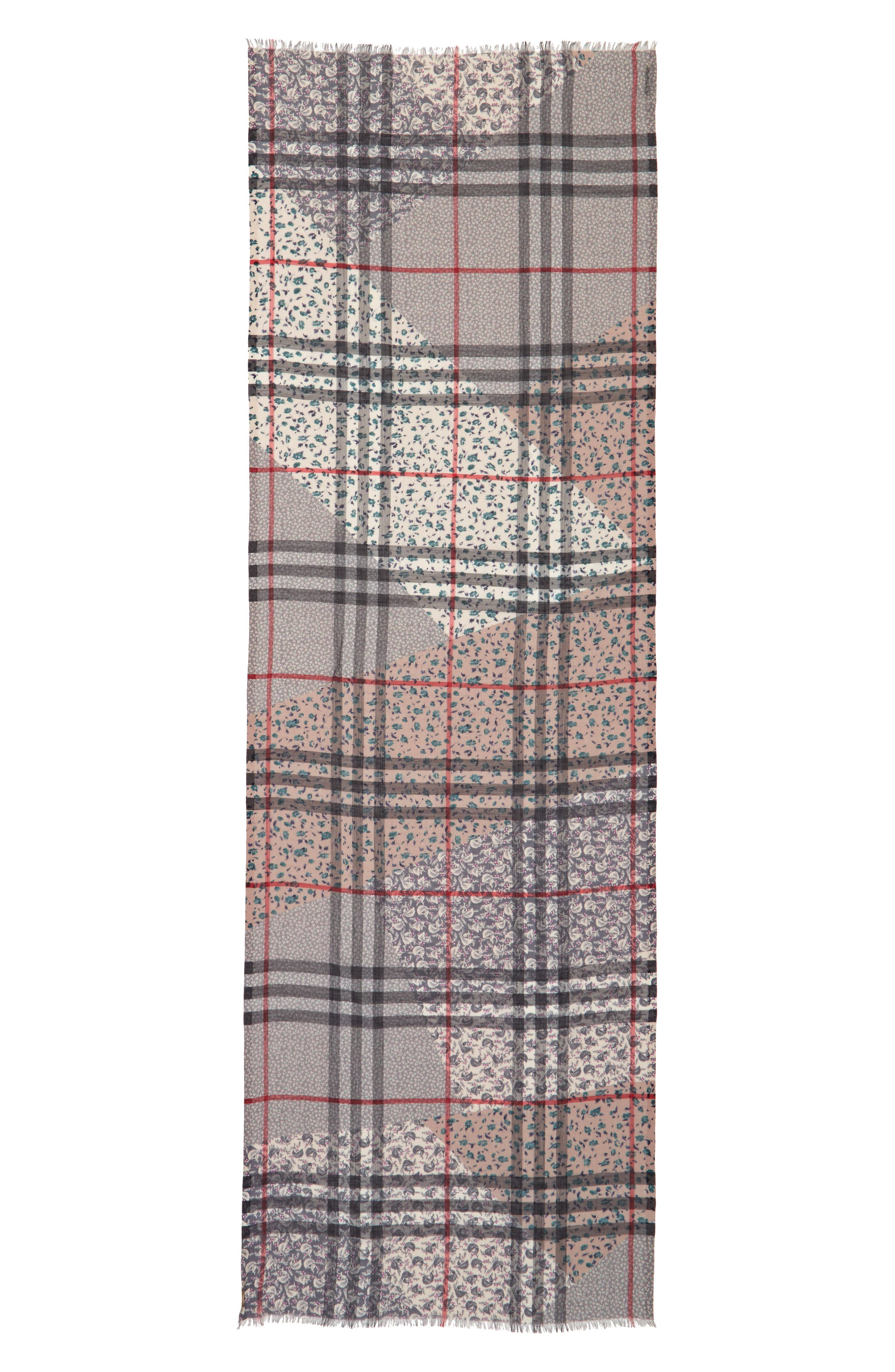 Patchwork Floral & Check Wool & Silk Scarf,                             Alternate thumbnail 3, color,                             409