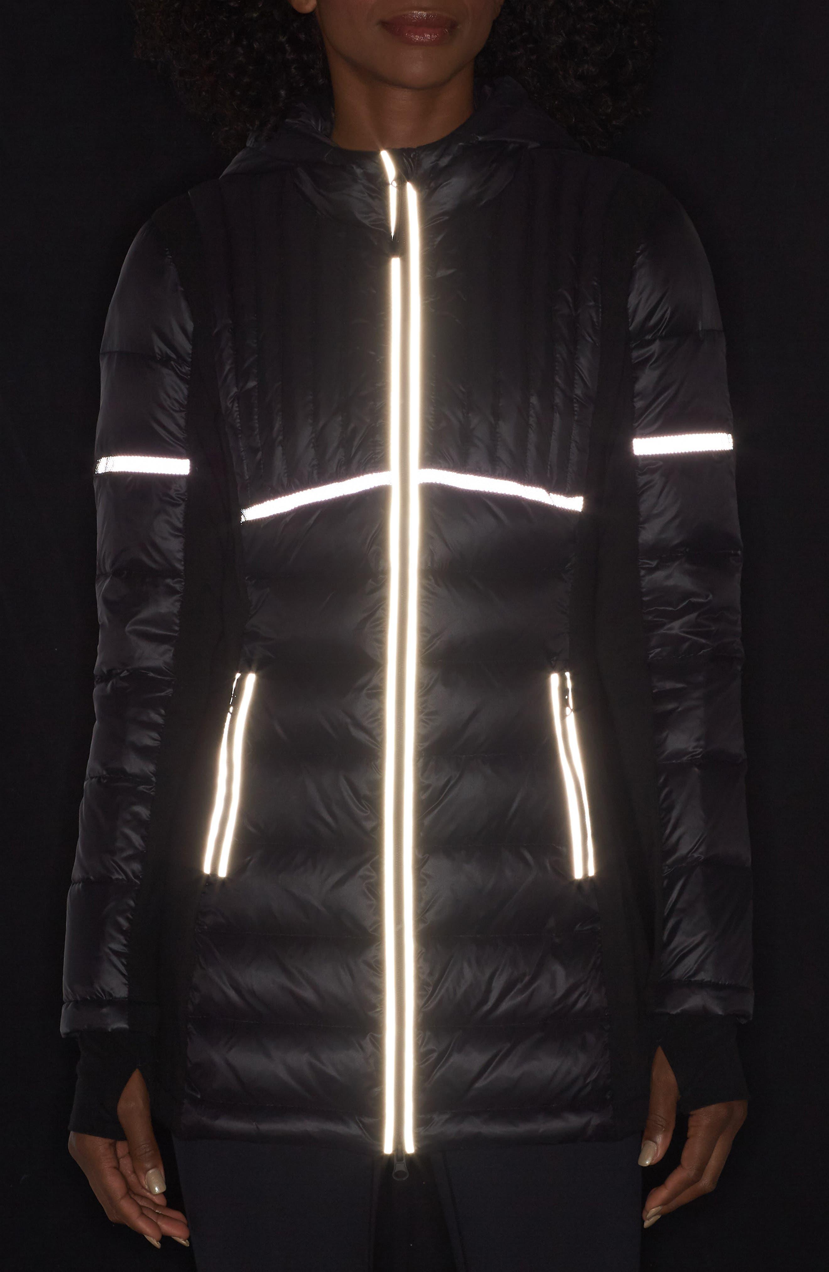 Reflective Down Puffer Jacket,                             Alternate thumbnail 4, color,                             BLACK/ BLACK
