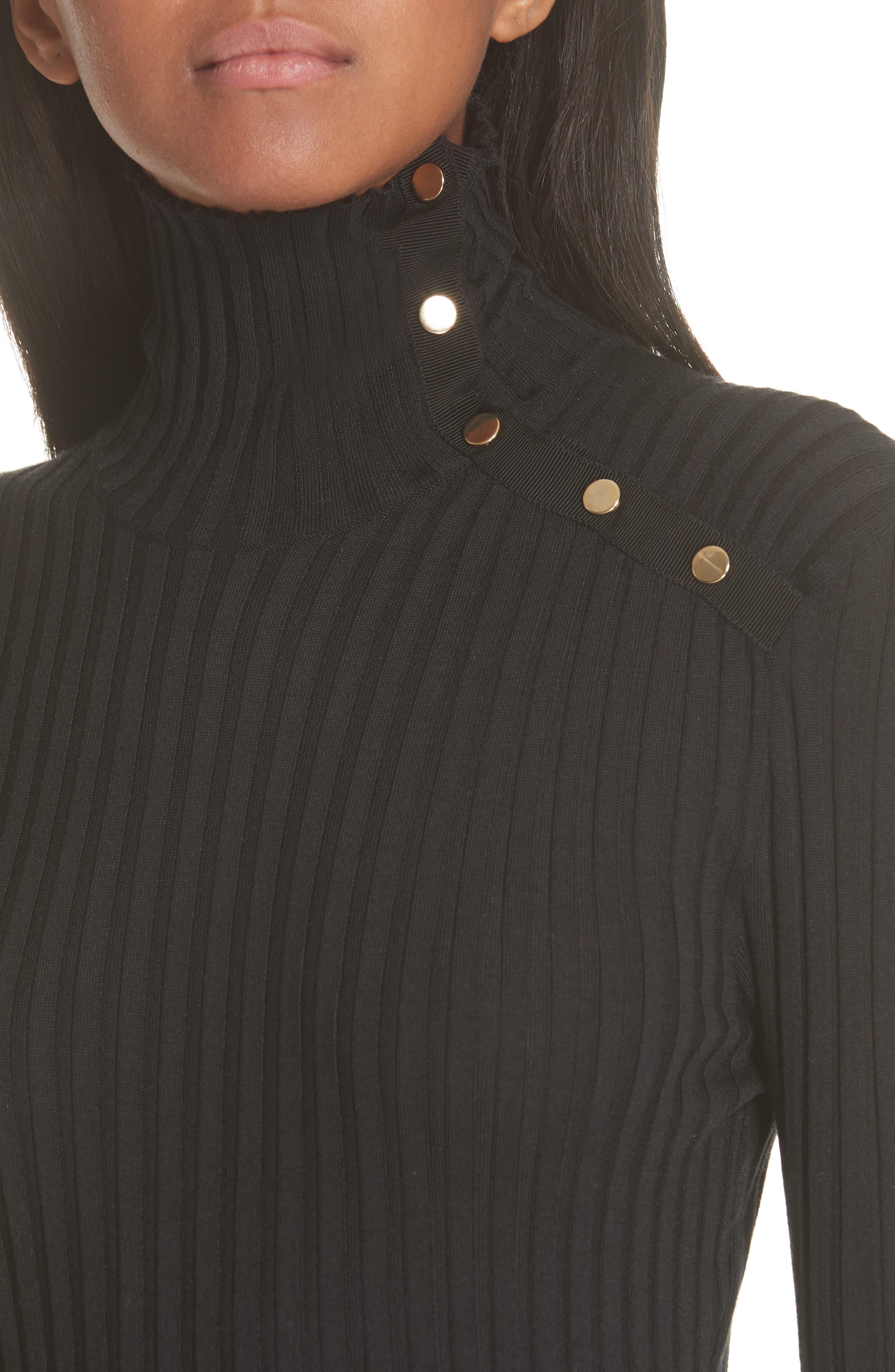 Snap Neck Rib Knit Sweater Dress,                             Alternate thumbnail 4, color,                             001