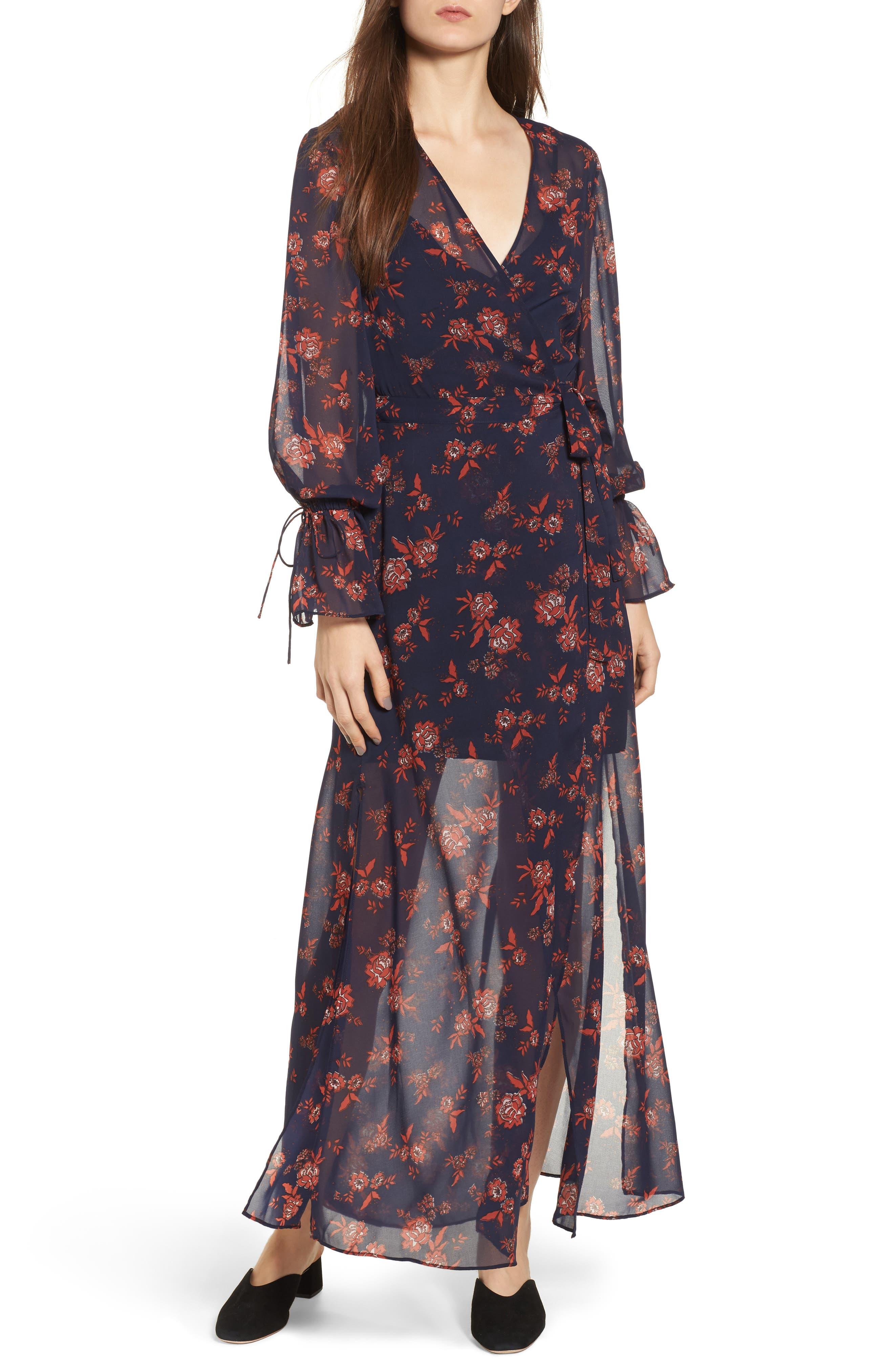 Capital Floral Wrap Maxi Dress,                         Main,                         color, 413